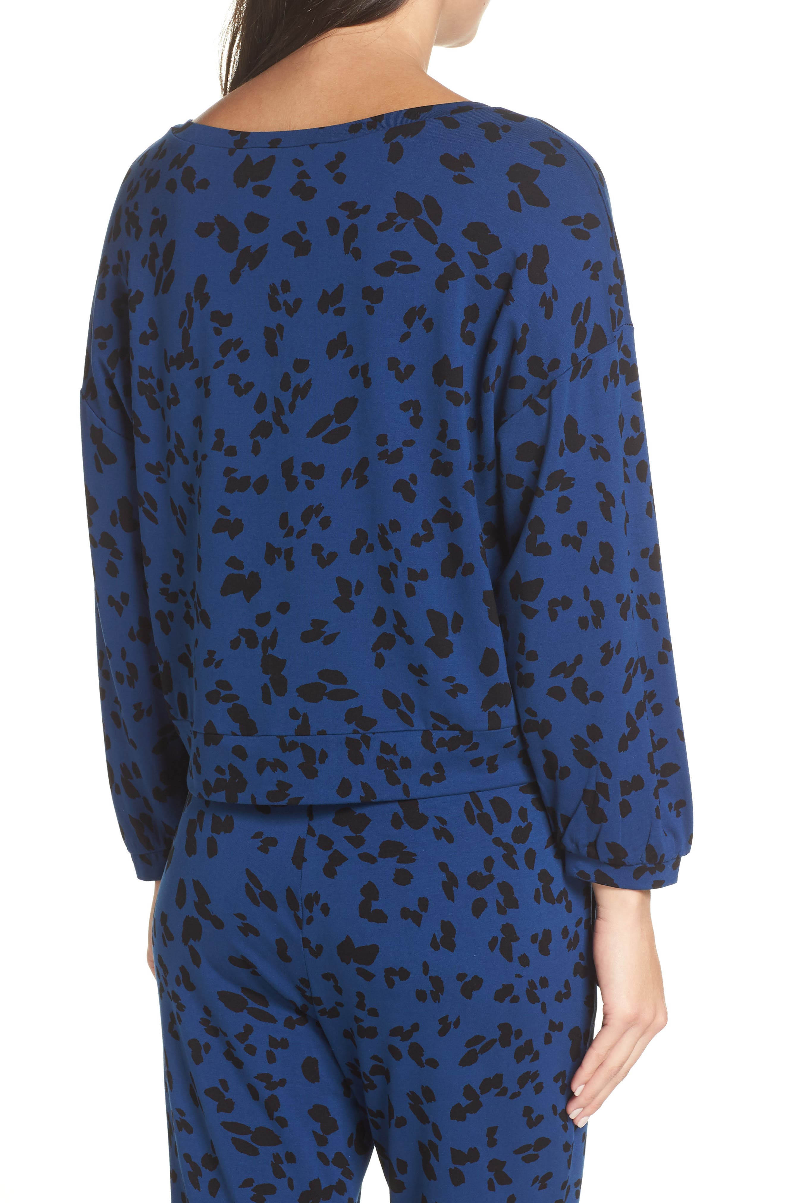 Sensing a Pattern Leopard Print Pajama Top,                             Alternate thumbnail 2, color,                             MARINE