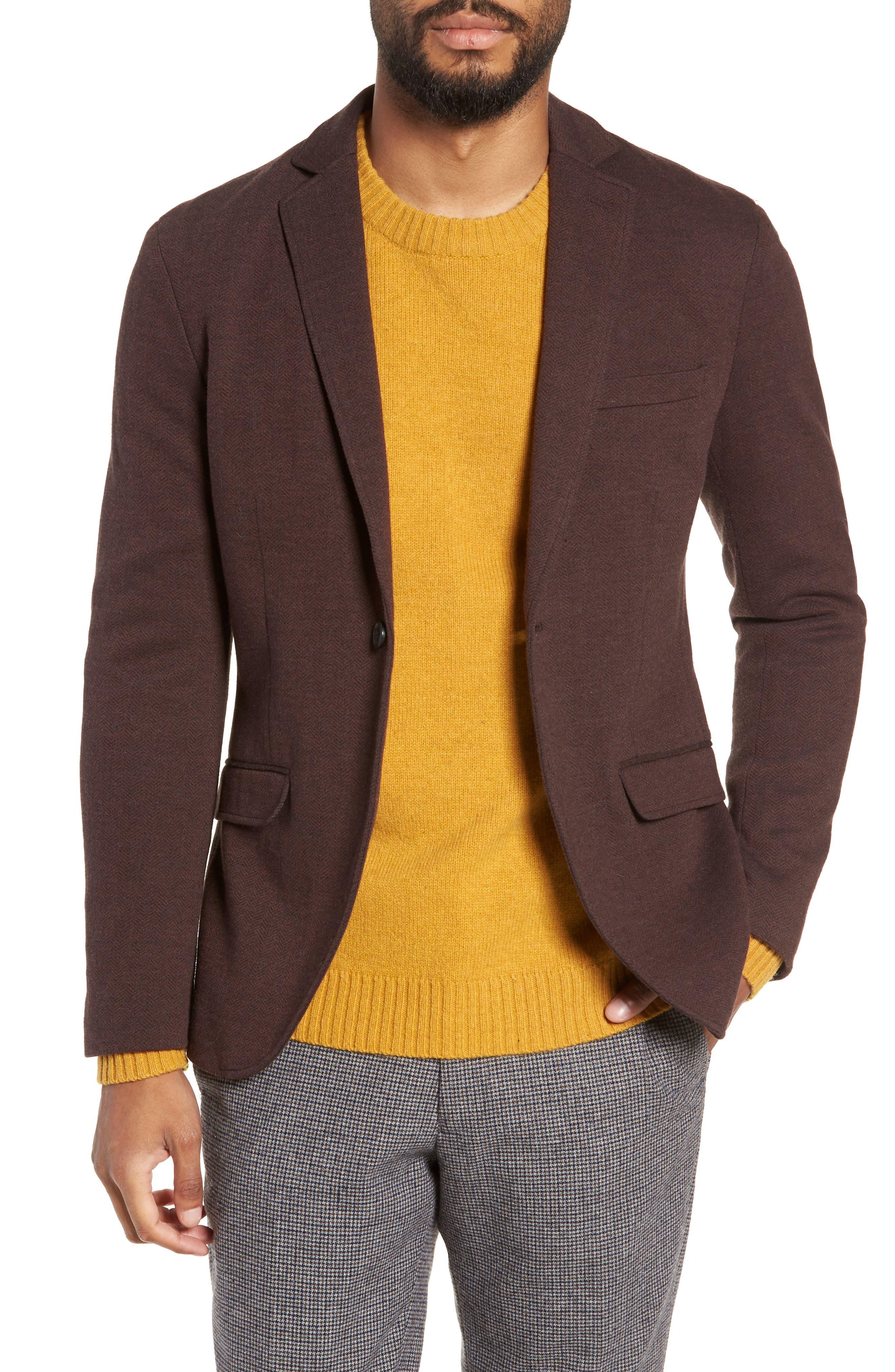 Herrold Slim Fit Herringbone Jersey Sport Coat,                         Main,                         color, 205
