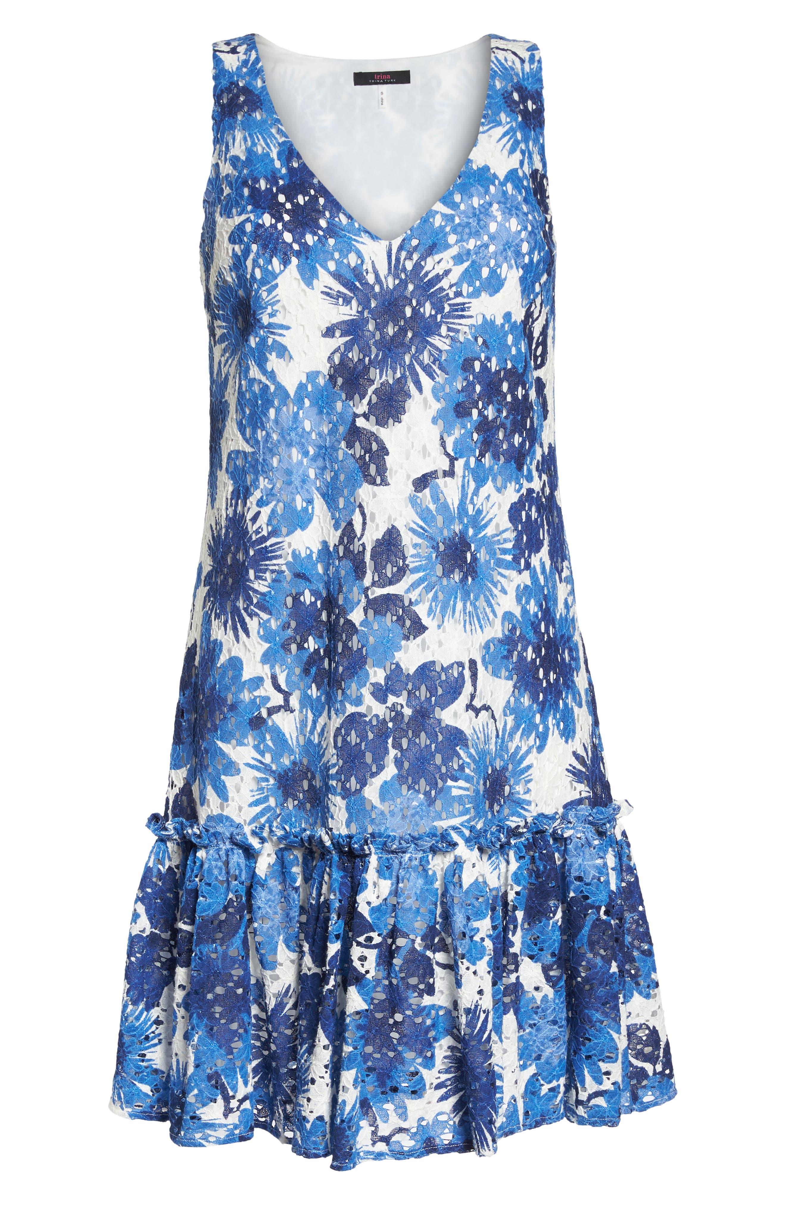 La Costa Print Ruffle Hem Lace Dress,                             Alternate thumbnail 6, color,                             MULTI