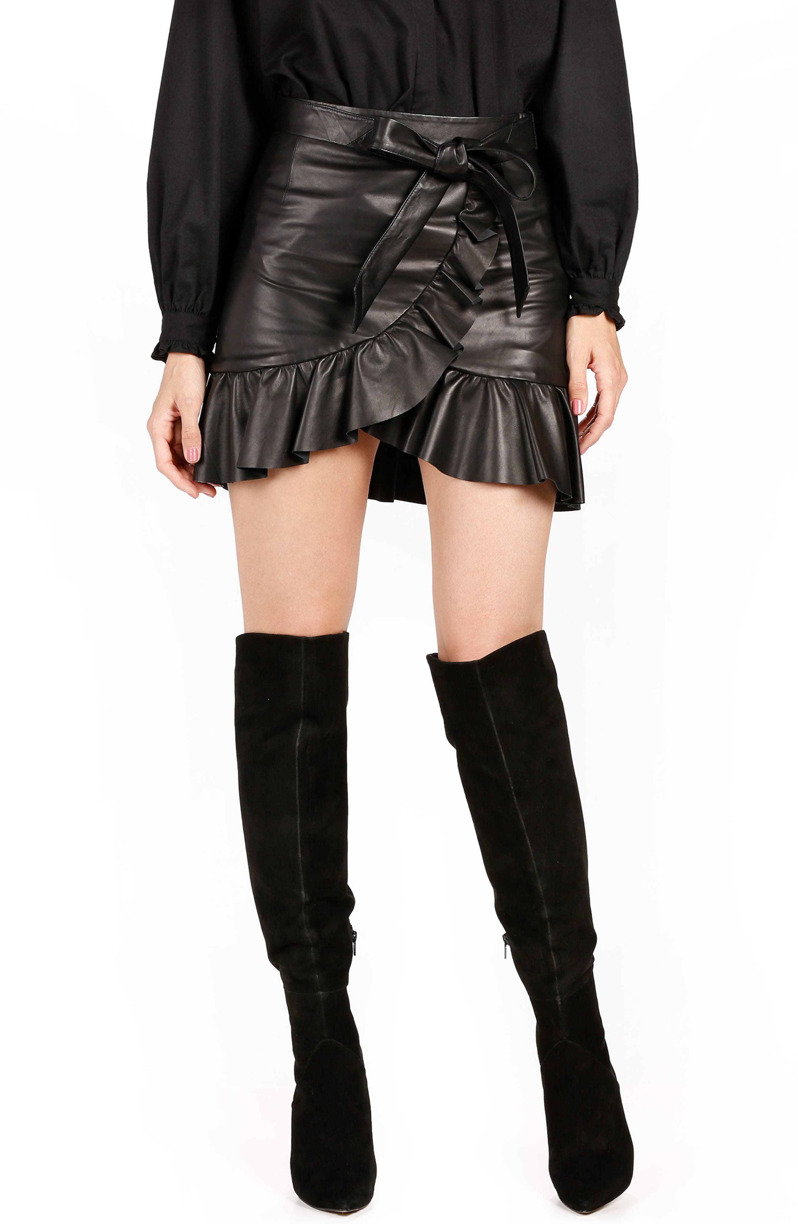 Nivelle Ruffle Leather Skirt,                         Main,                         color, 001