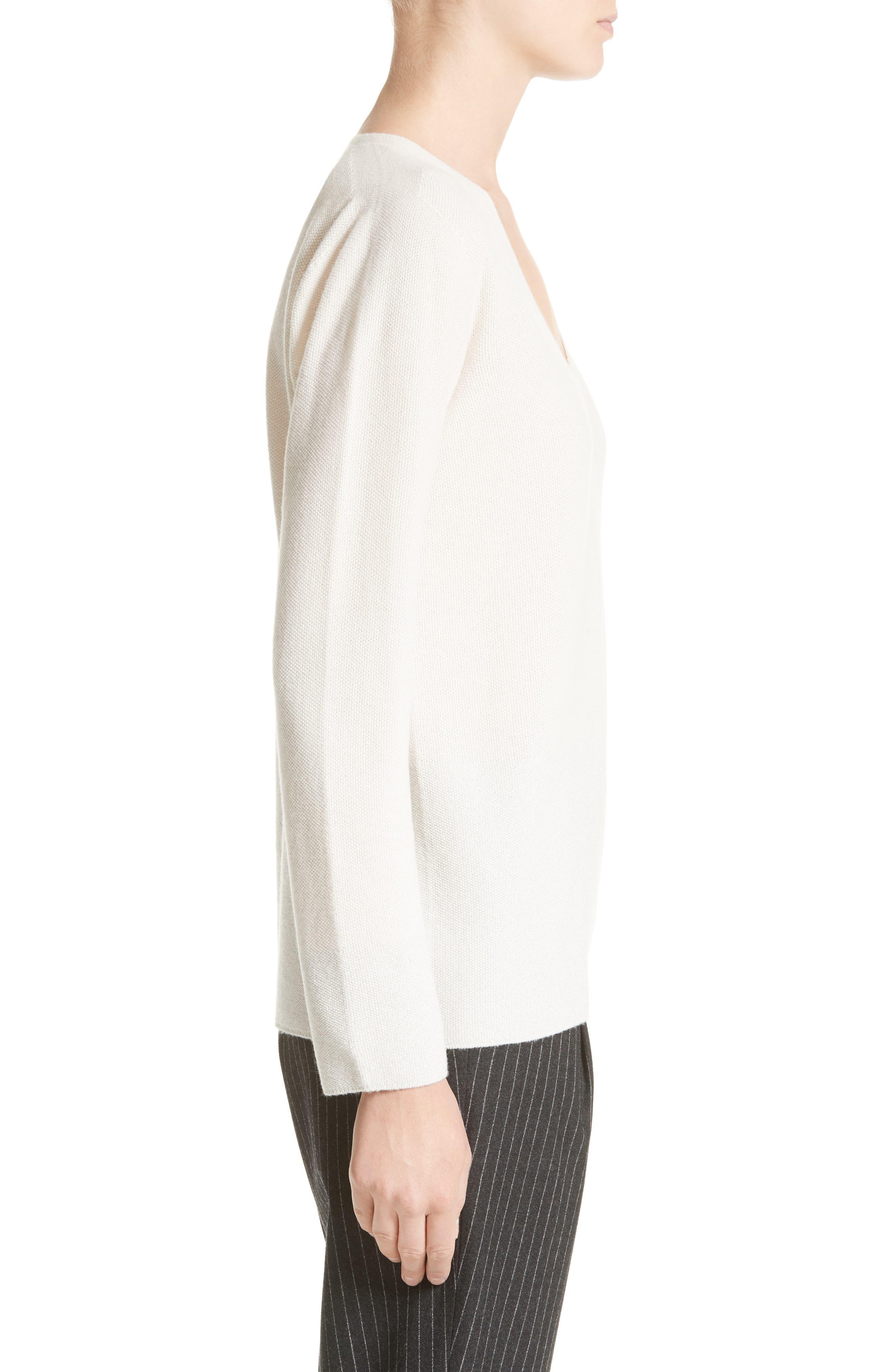 Wool, Silk & Cashmere Micro Popcorn Stitch Sweater,                             Alternate thumbnail 3, color,                             101