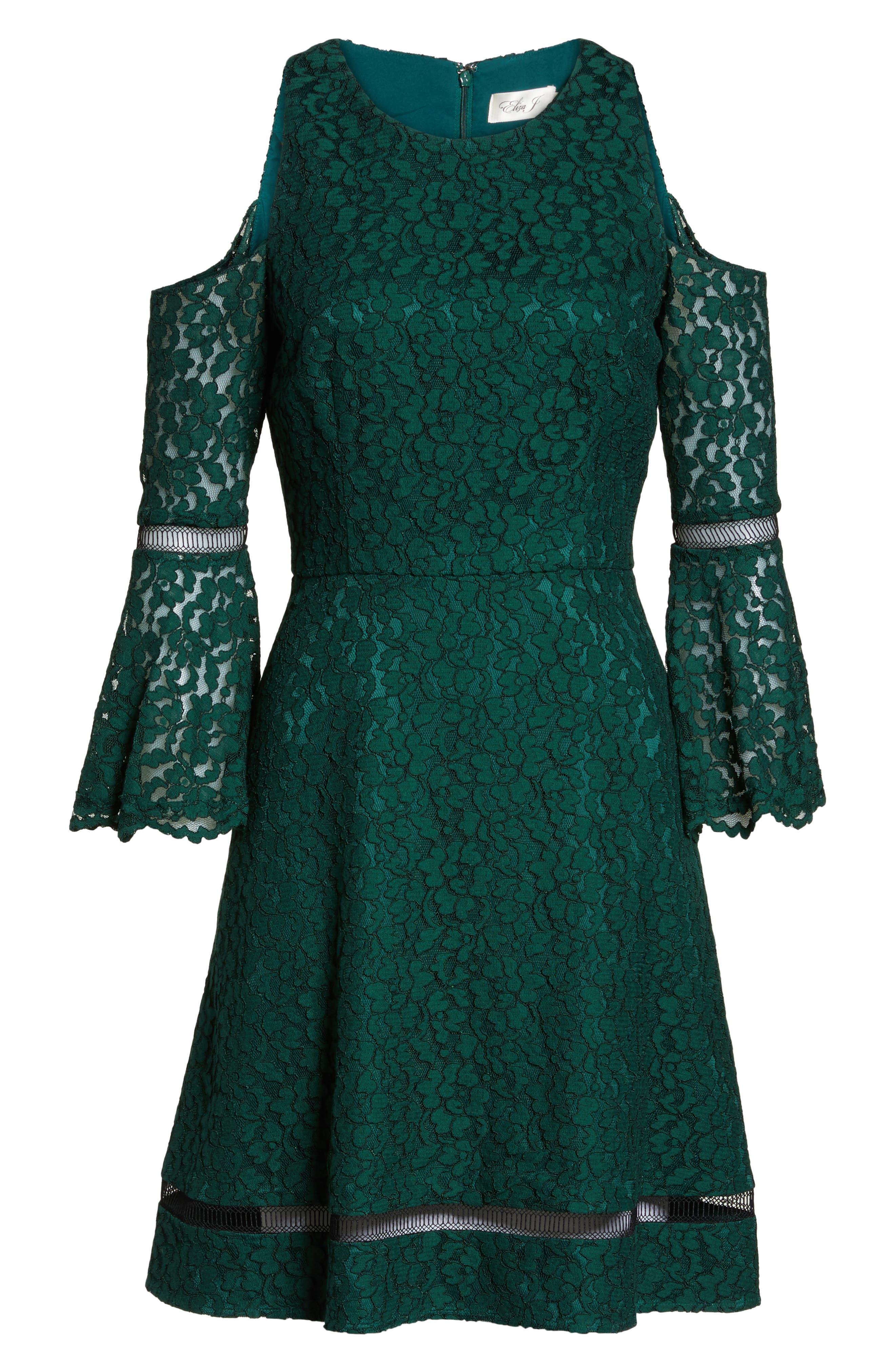 Bell Sleeve Cold Shoulder Fit & Flare Dress,                             Alternate thumbnail 6, color,                             310