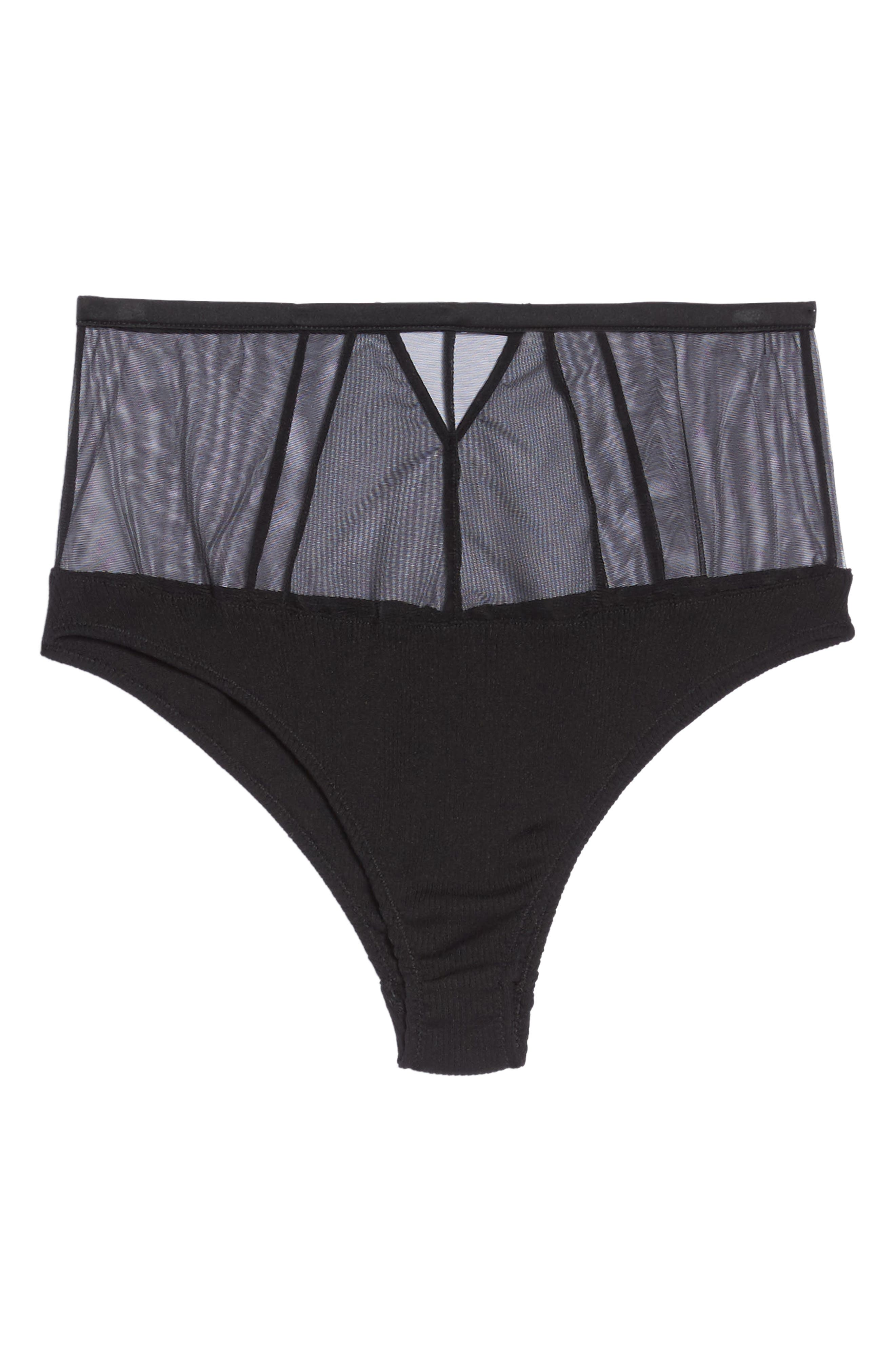 High Waist Mesh Panties,                             Alternate thumbnail 5, color,                             002