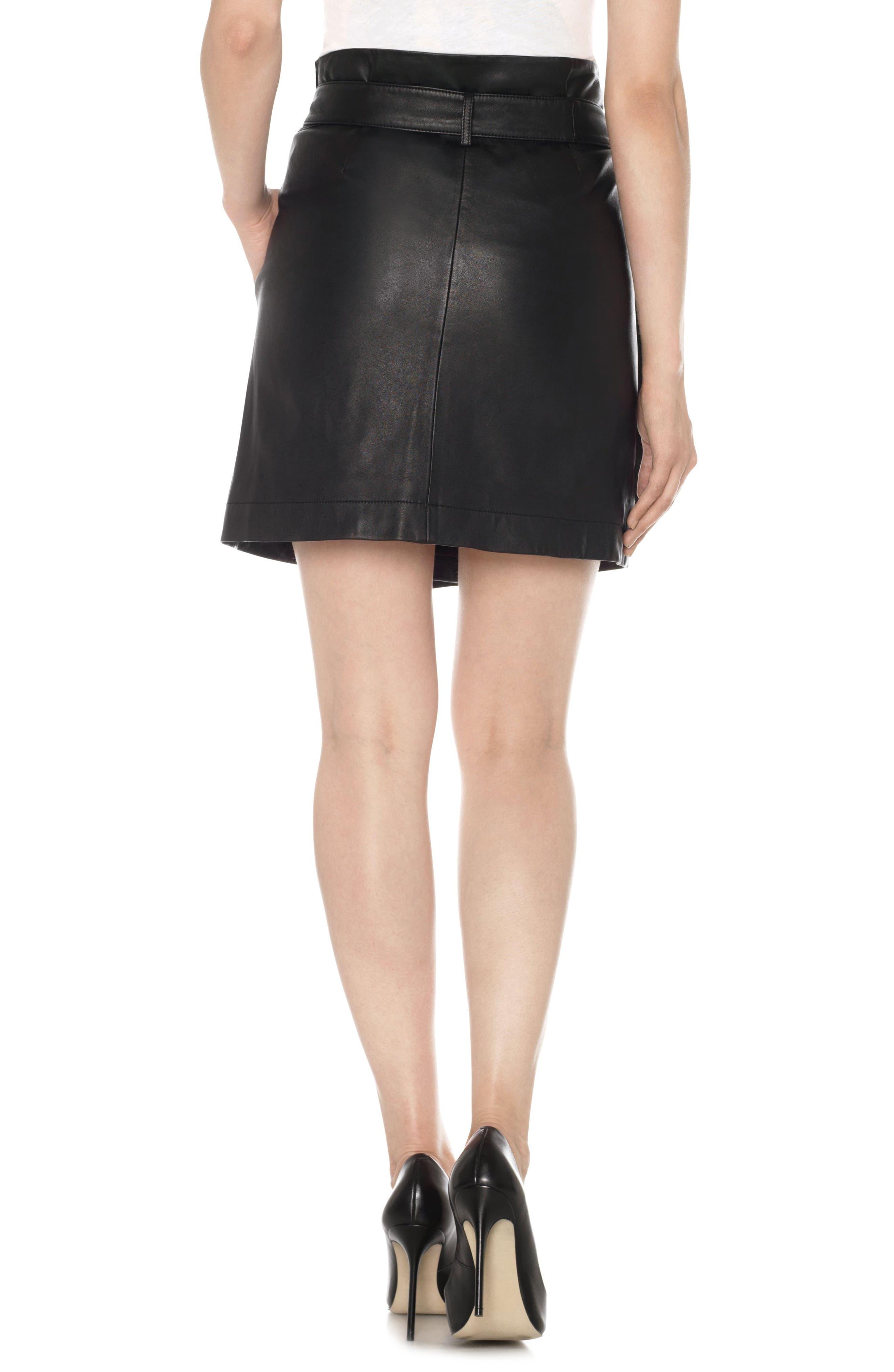 Tatum Paperbag Waist Leather Skirt,                             Alternate thumbnail 2, color,                             011