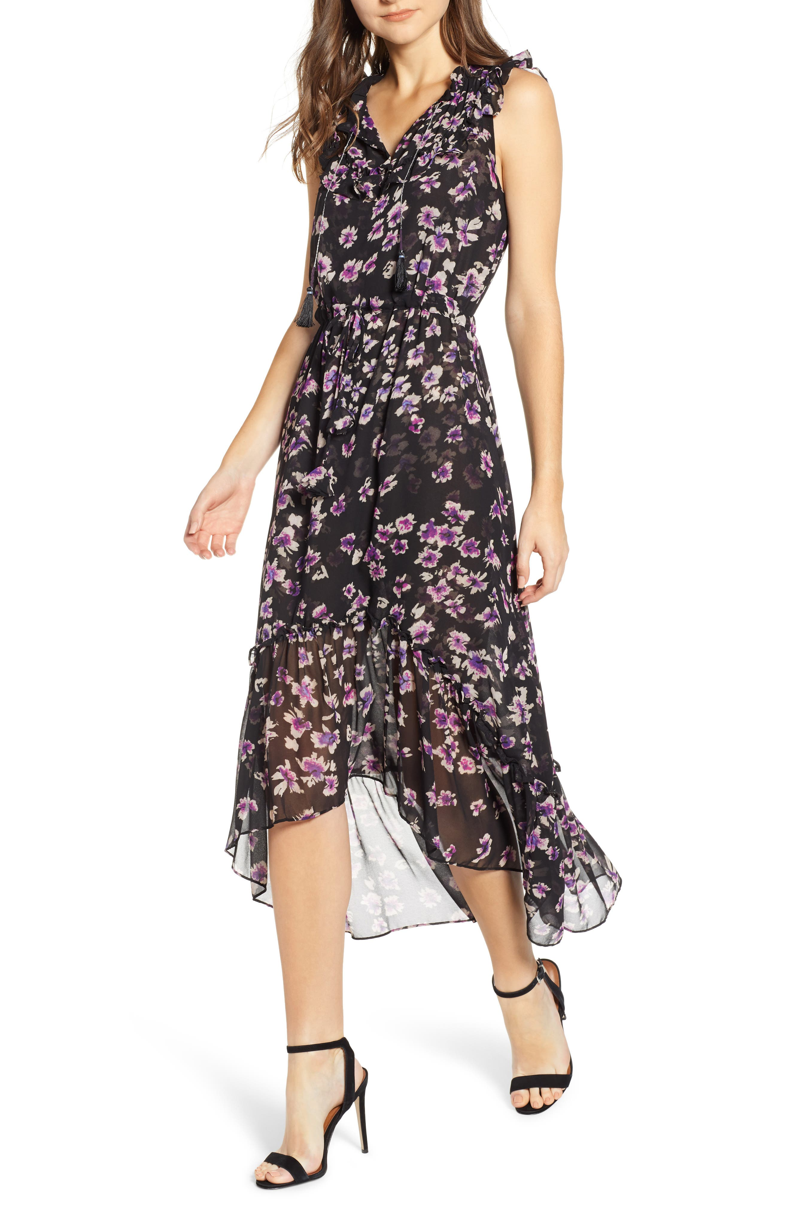 MISA LOS ANGELES Caterine Sleeveless High/Low Dress, Main, color, 009