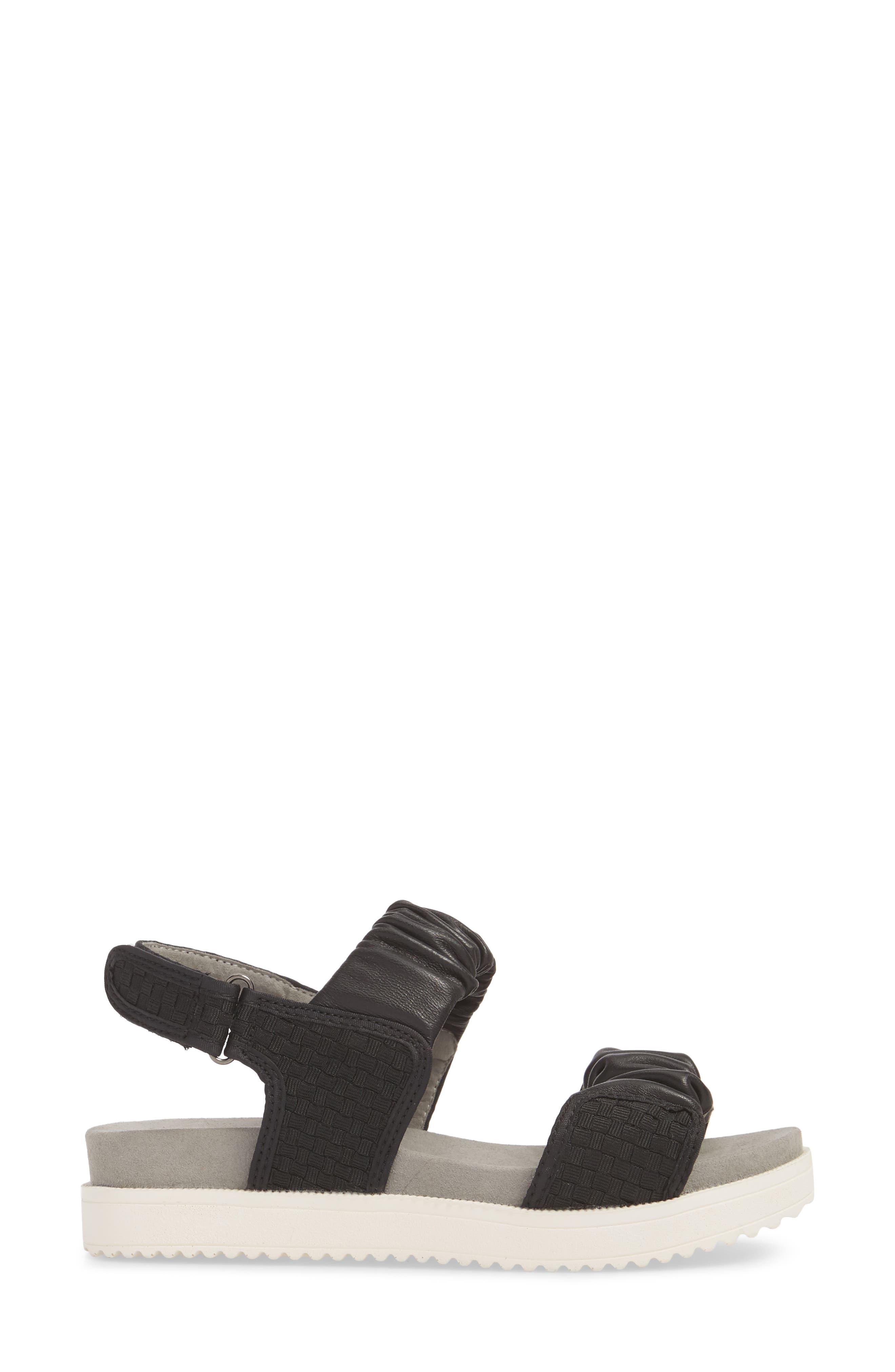 Fiji Sandal,                             Alternate thumbnail 3, color,                             BLACK/ BLACK LEATHER