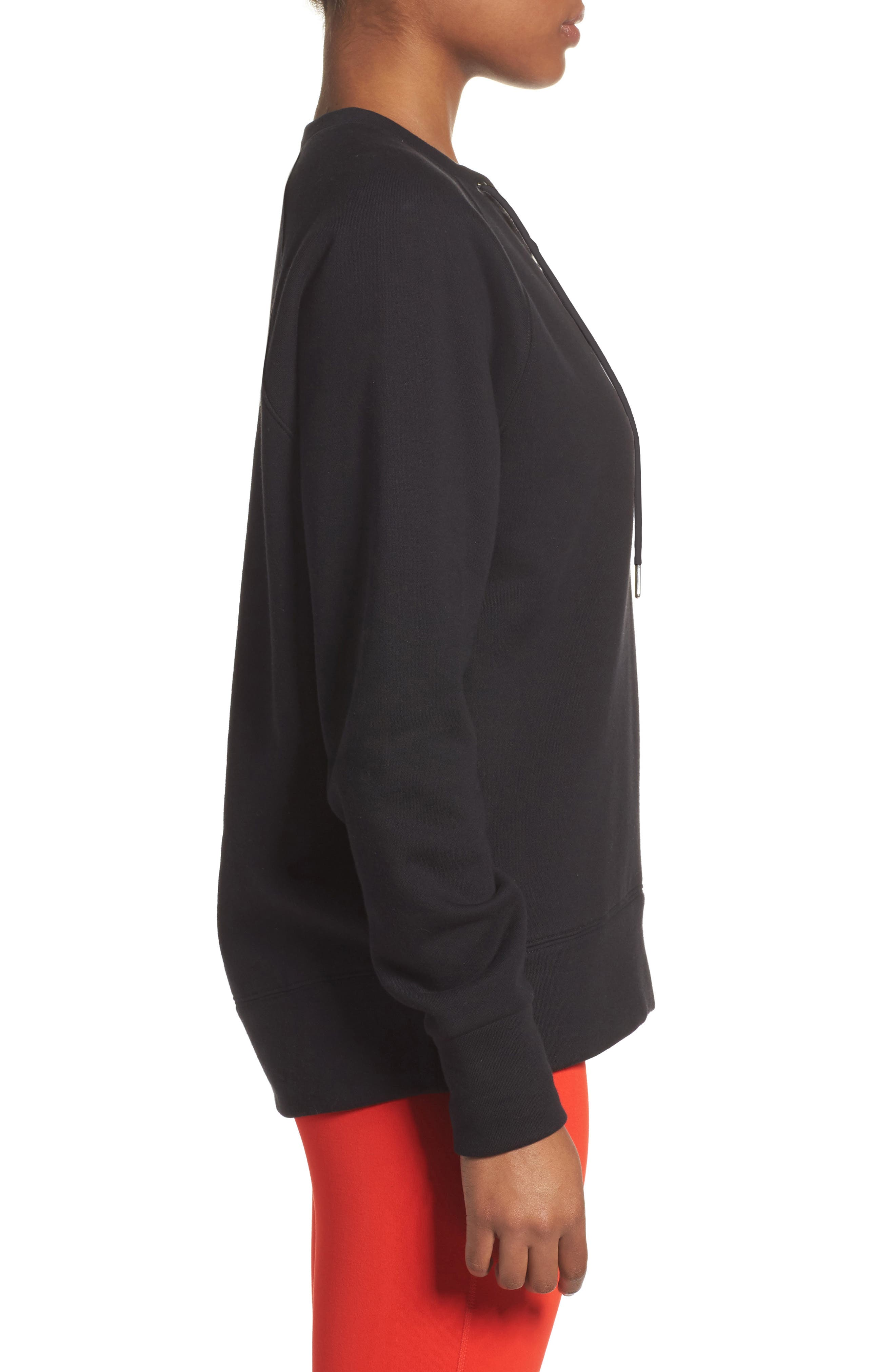 Lace-Up Pullover,                             Alternate thumbnail 3, color,                             001