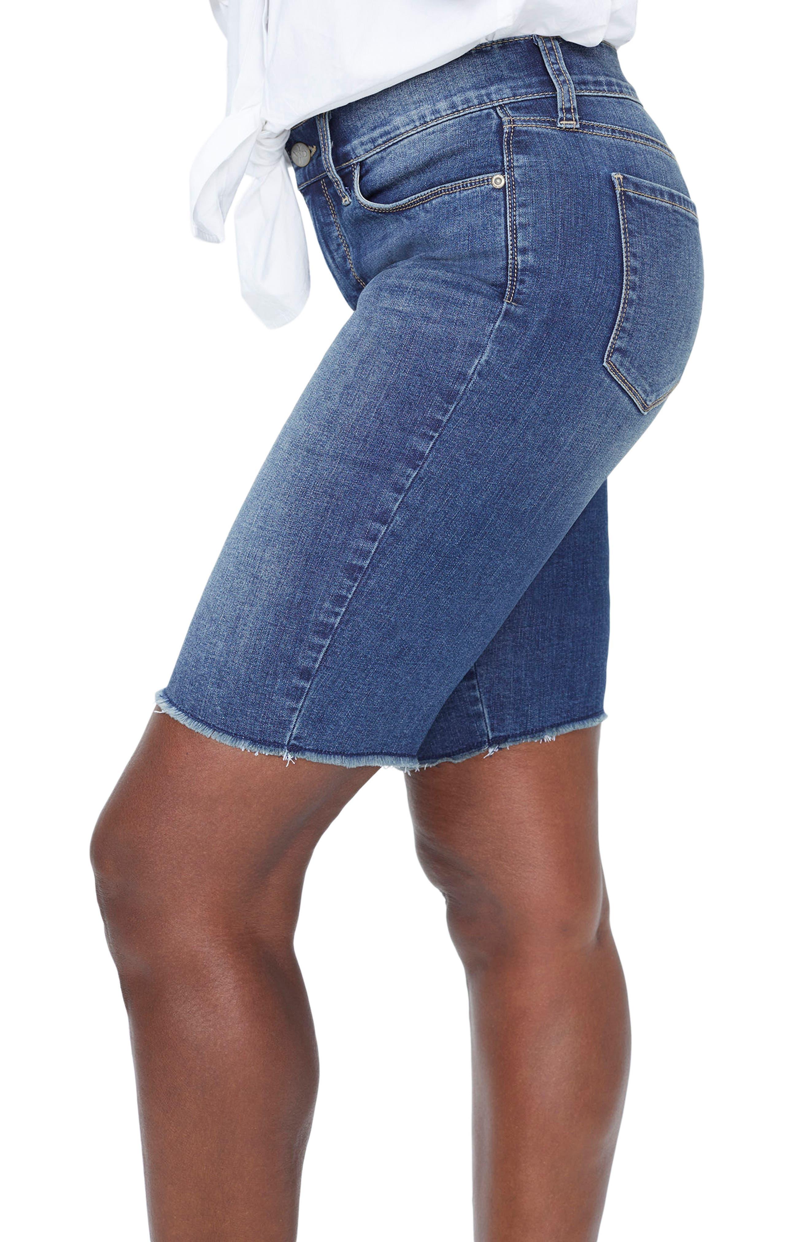 Briella Frayed Hem Denim Bermuda Shorts,                             Alternate thumbnail 3, color,                             420