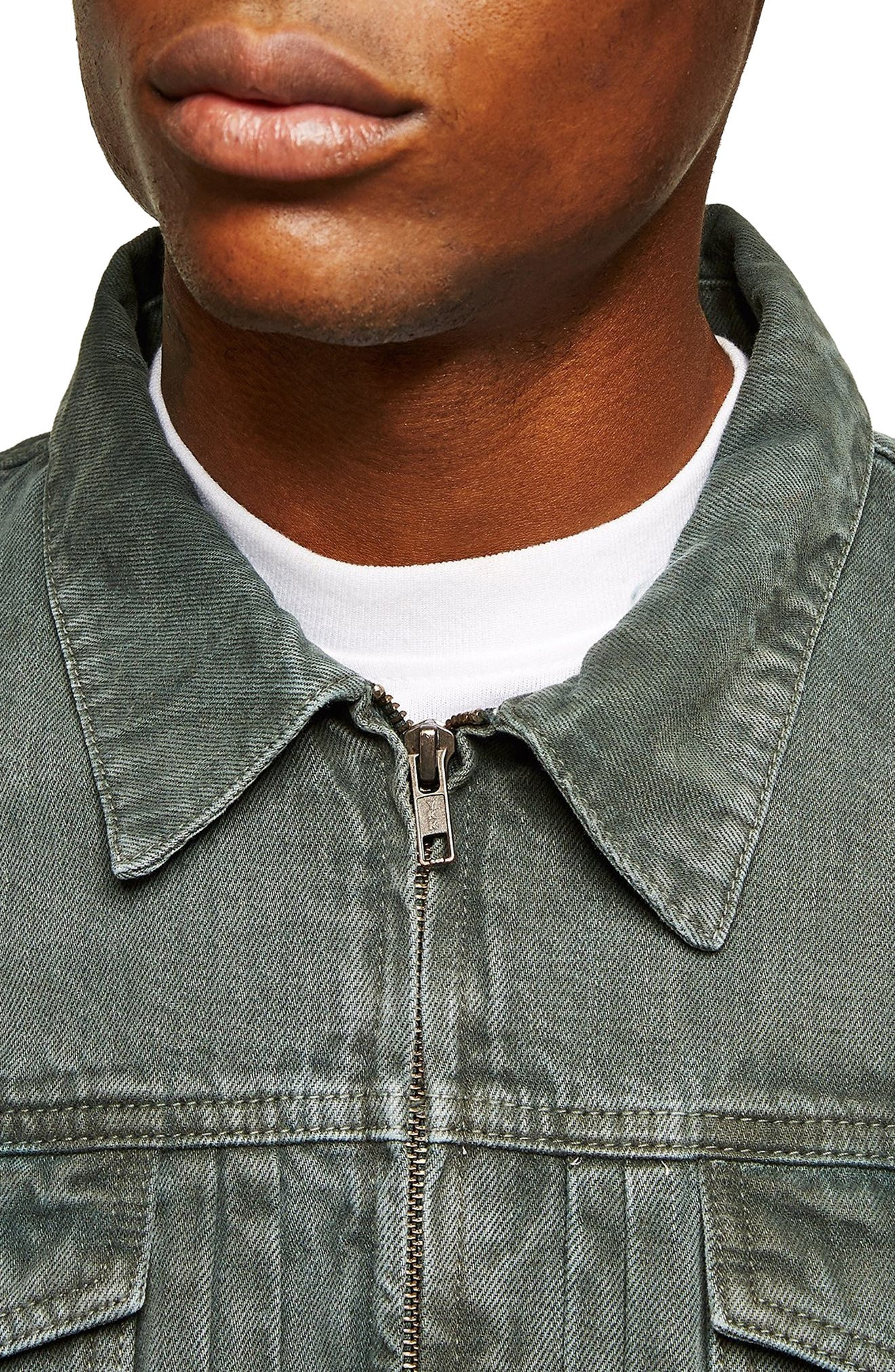 Zip Denim Jacket,                             Alternate thumbnail 3, color,                             LIGHT GREEN