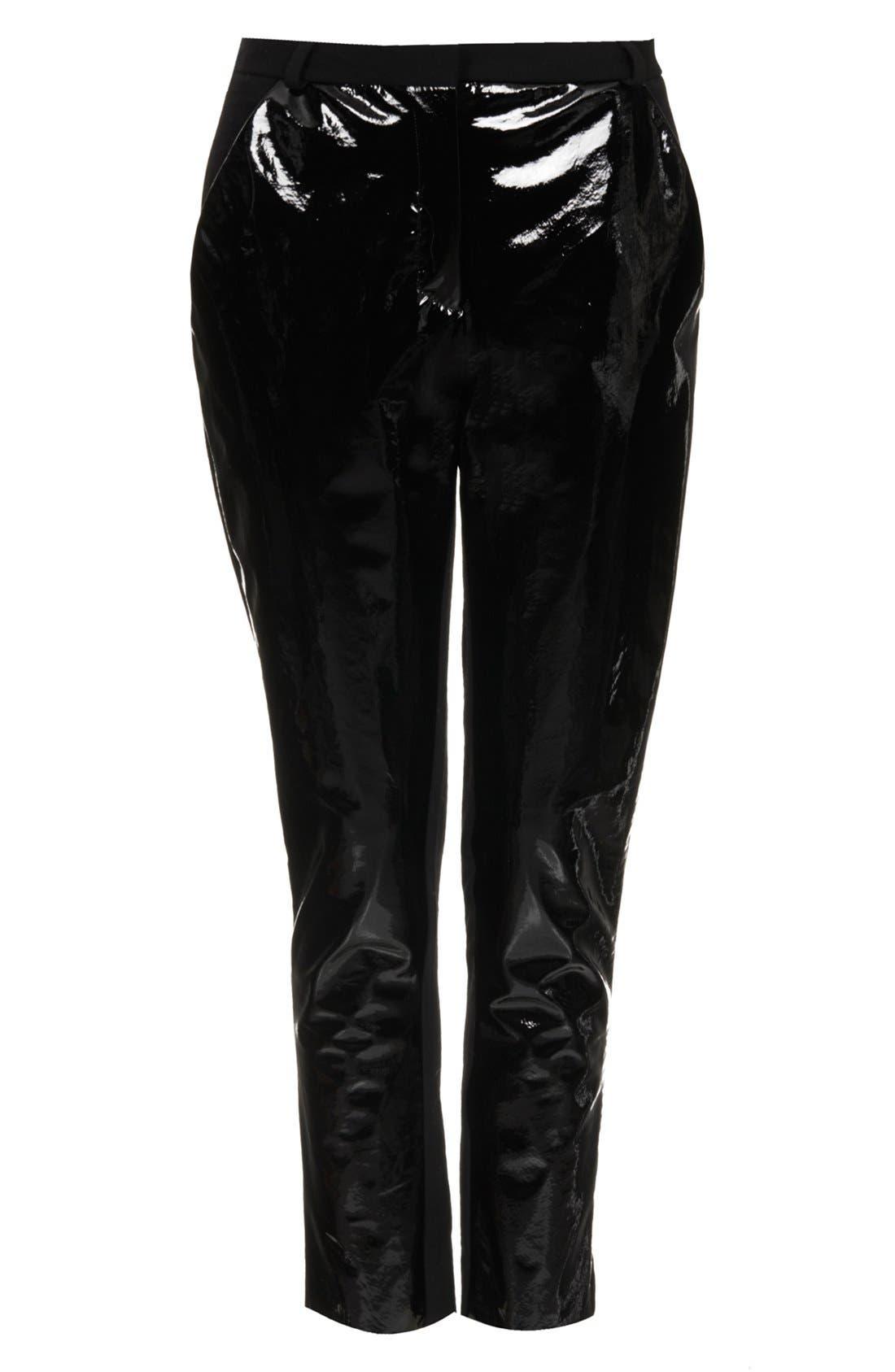 Topshop Patent Leather Panel Trousers,                             Alternate thumbnail 5, color,                             001