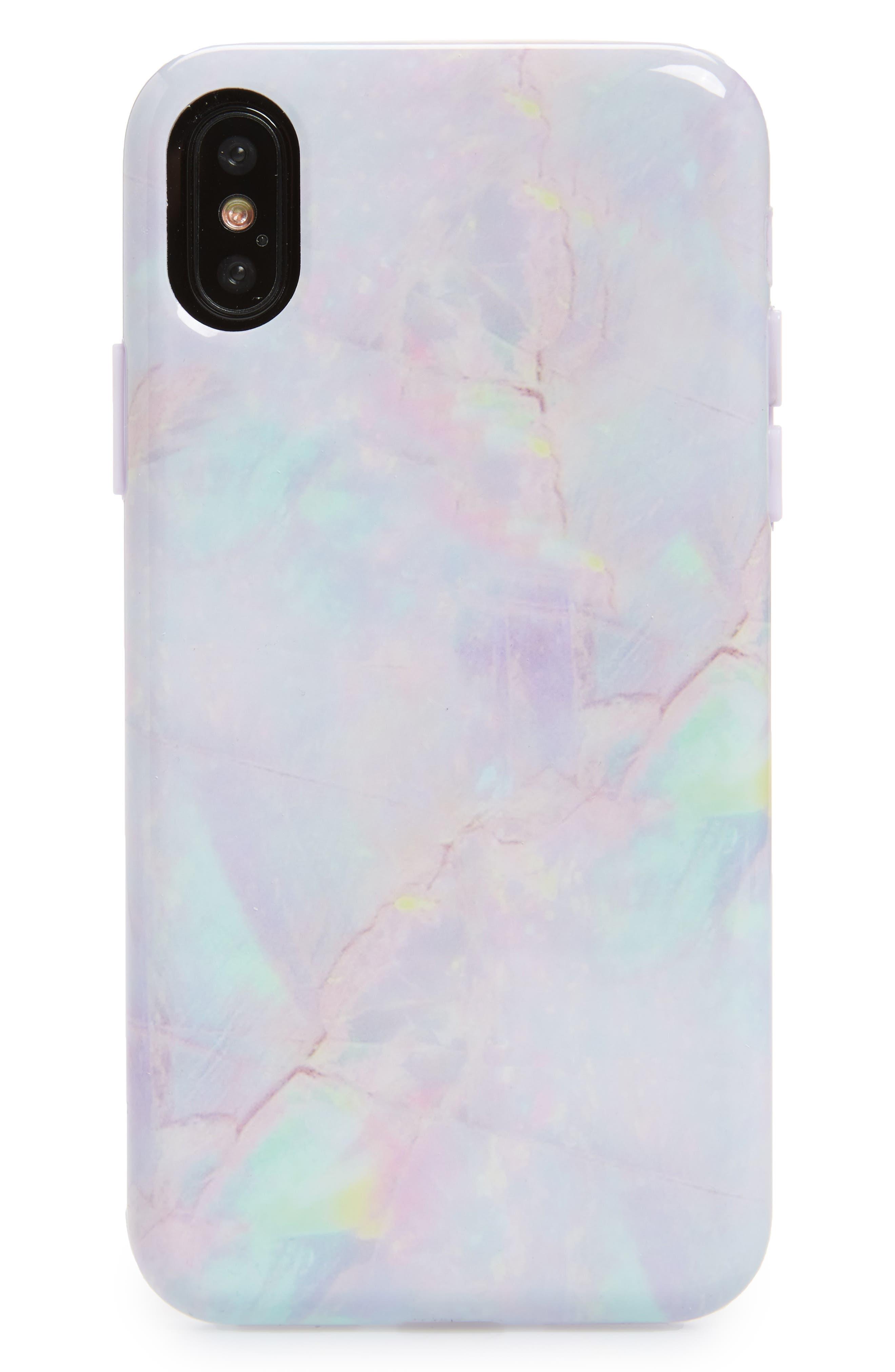 VELVET CAVIAR,                             Cotton Candy Marble iPhone X Case,                             Main thumbnail 1, color,                             650