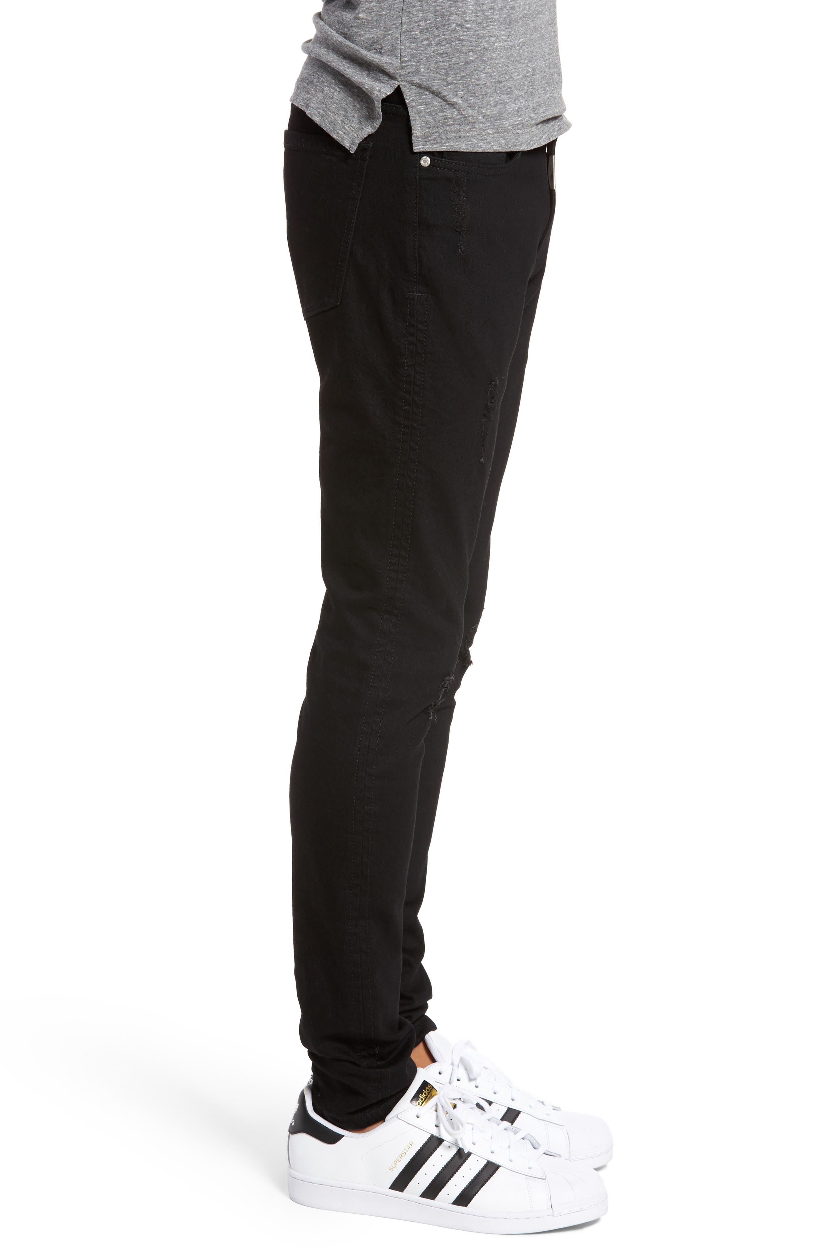 Slim Fit Distressed Jeans,                             Alternate thumbnail 3, color,                             001