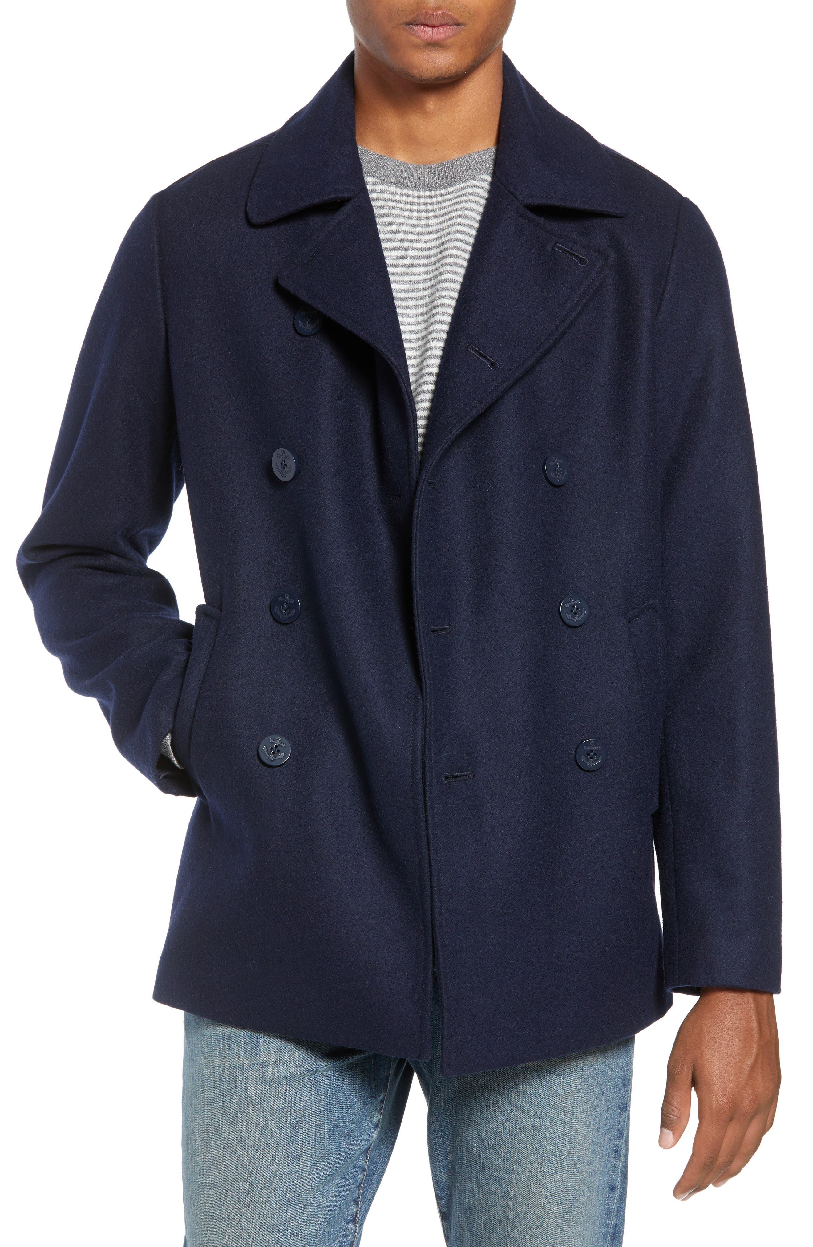 Slim Fit Wool Blend Peacoat,                         Main,                         color, NAVY