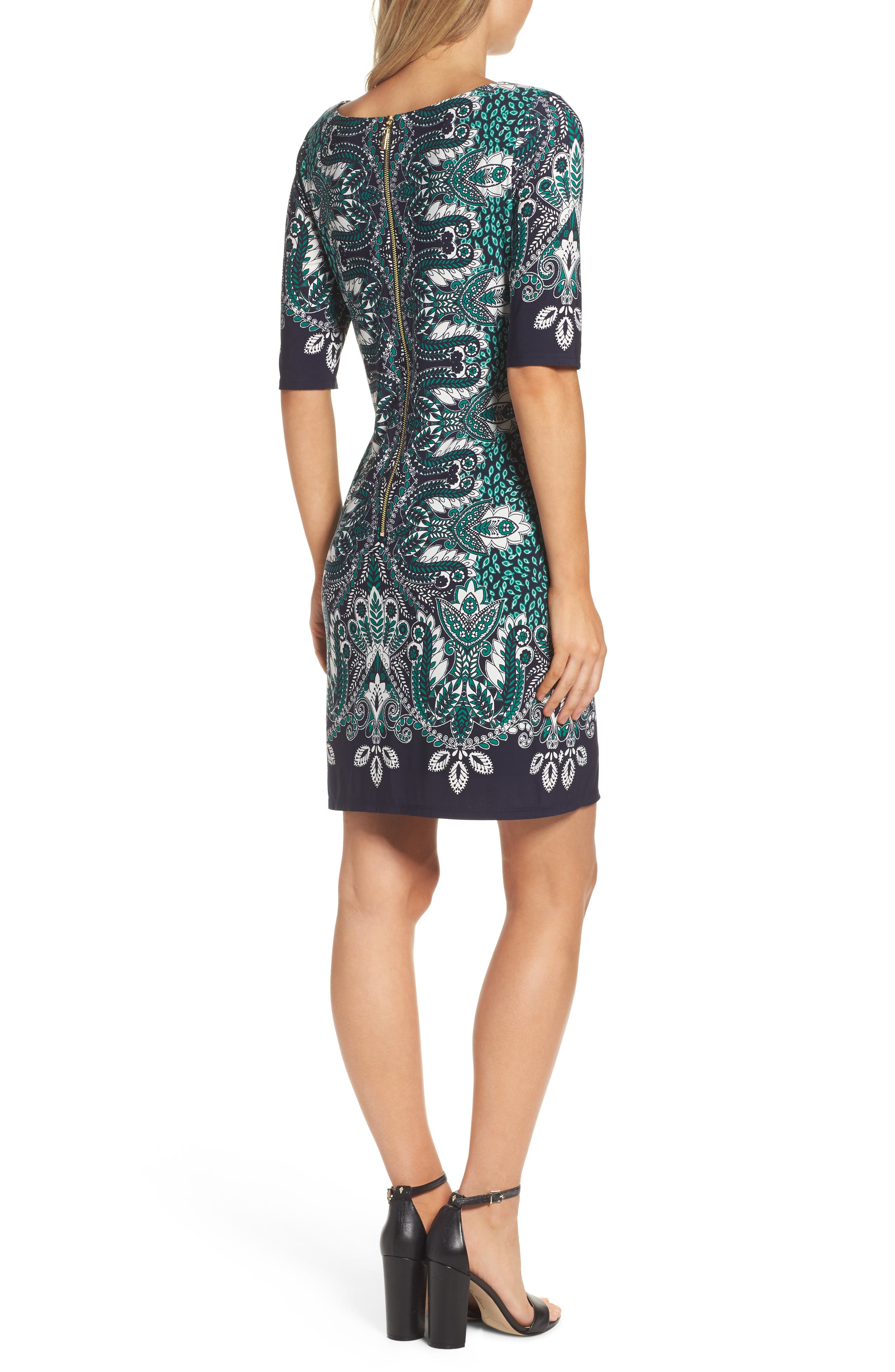 Print Elbow Sleeve Shift Dress,                             Alternate thumbnail 2, color,                             404
