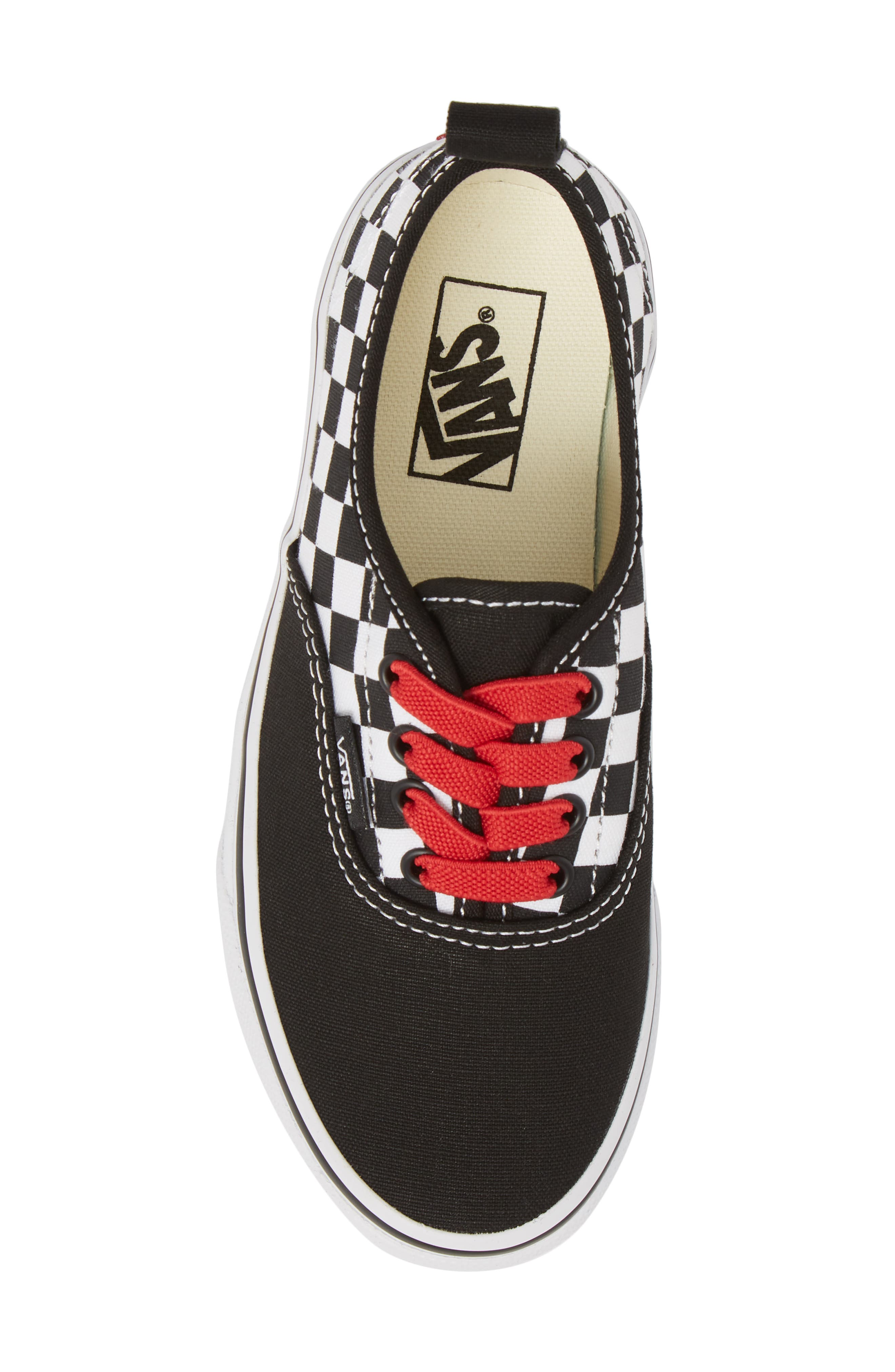 Authentic Elastic Lace Sneaker,                             Alternate thumbnail 5, color,                             CHECKERBOARD BLACK/ RED/ WHITE