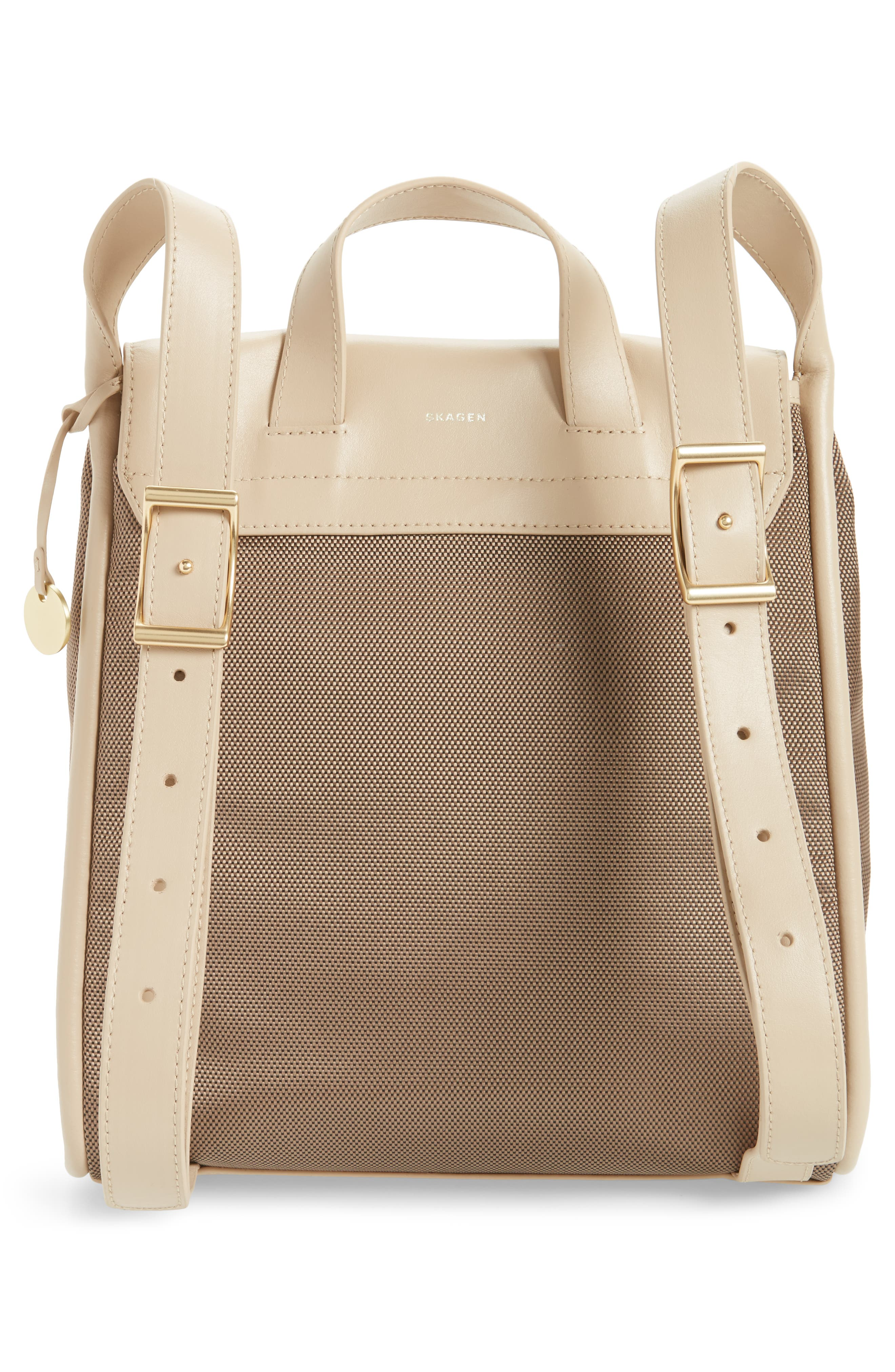 Ebba Leather & Canvas Backpack,                             Alternate thumbnail 3, color,                             200