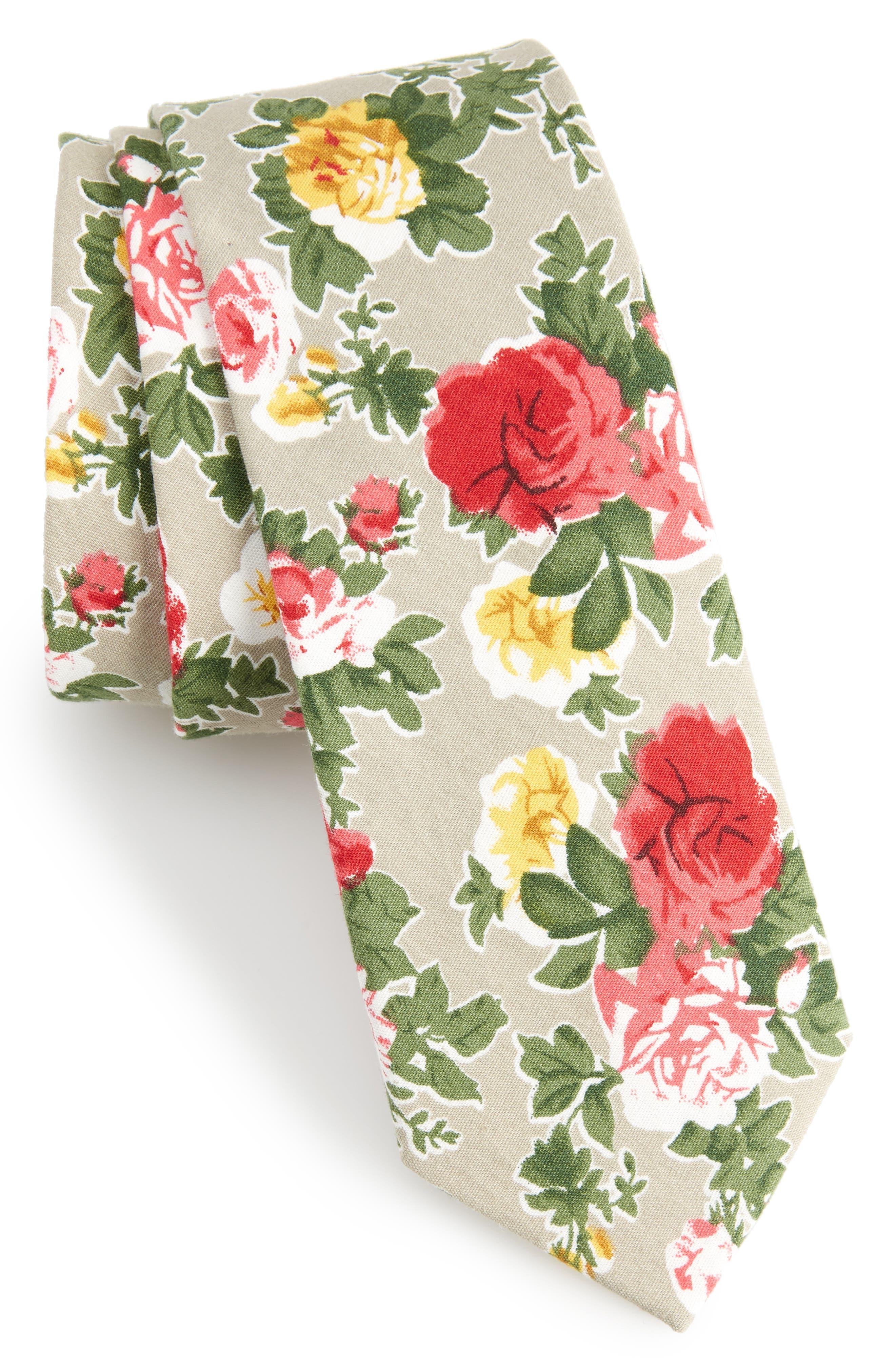 Iverson Floral Cotton Skinny Tie,                             Main thumbnail 1, color,