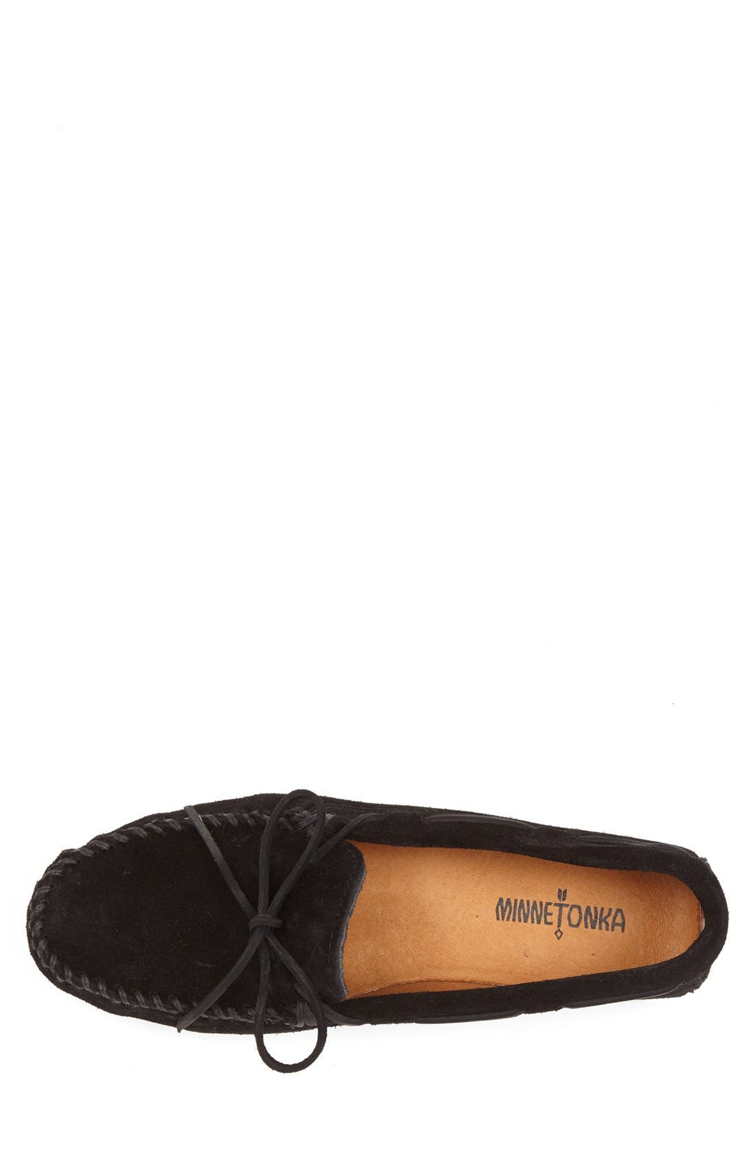 Suede Moccasin,                             Alternate thumbnail 3, color,                             BLACK