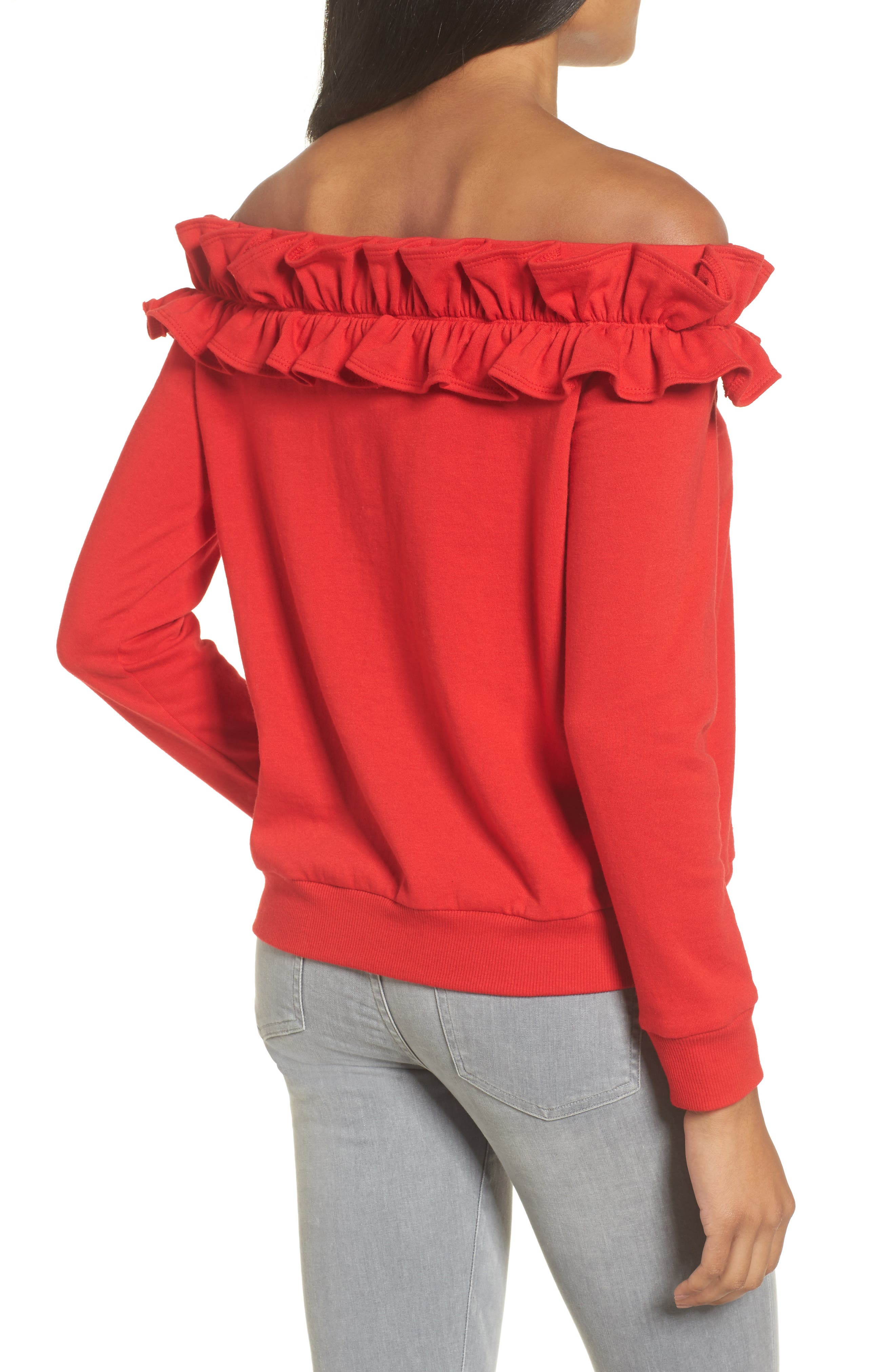 Ruffle Off the Shoulder Top,                             Alternate thumbnail 6, color,