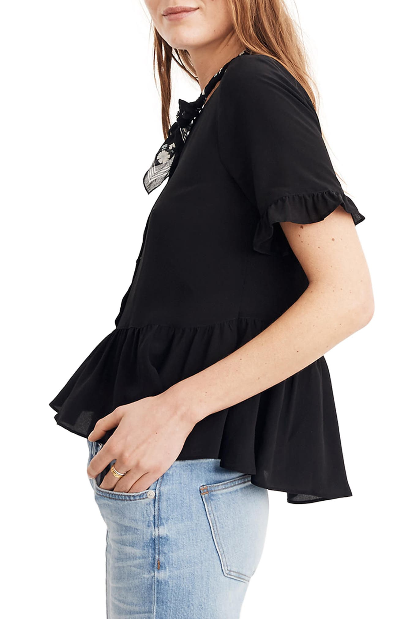 Studio Ruffle Hem Silk Top,                             Alternate thumbnail 3, color,
