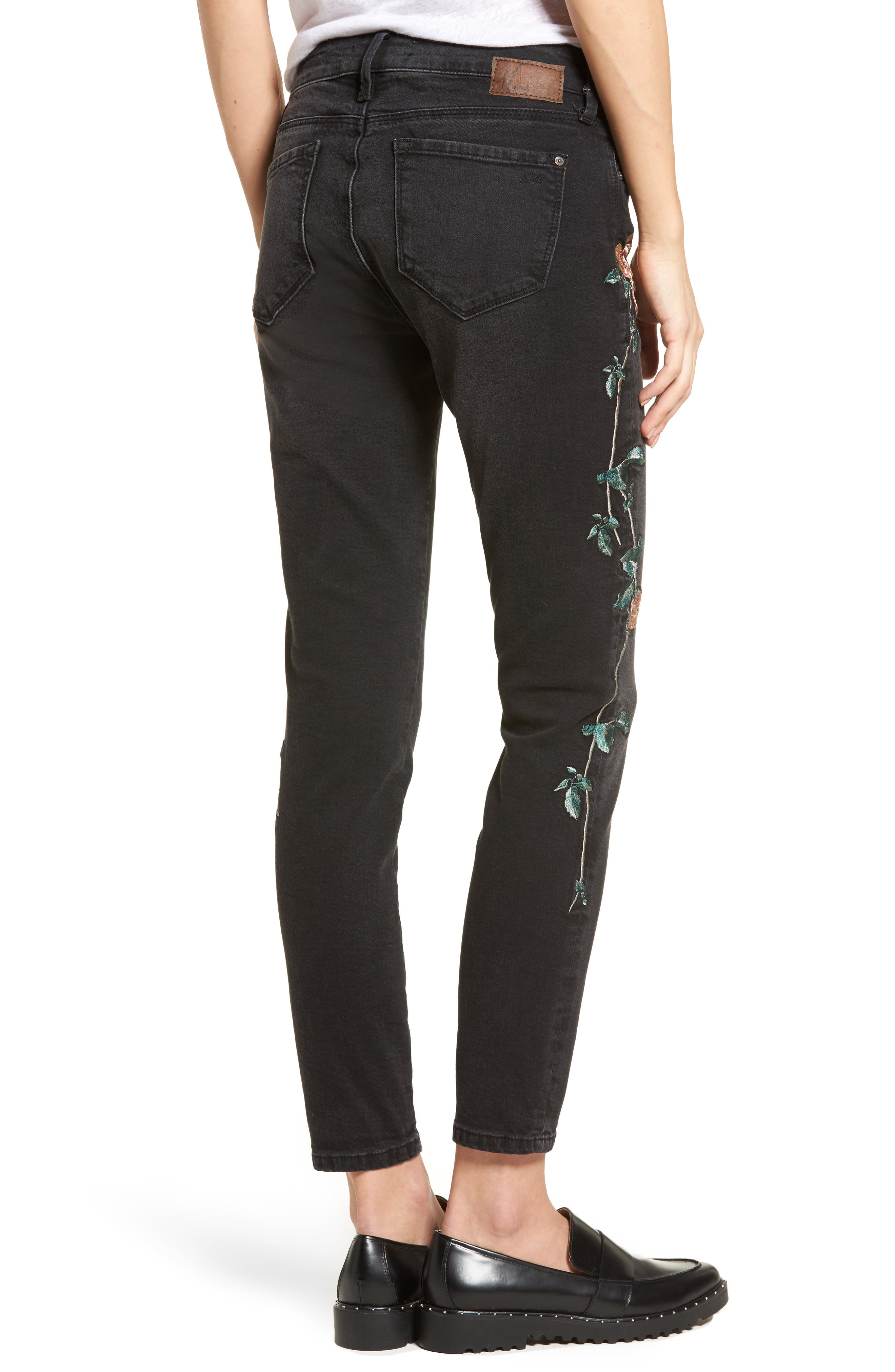 Adriana Embroidered Skinny Jeans,                             Alternate thumbnail 2, color,                             002