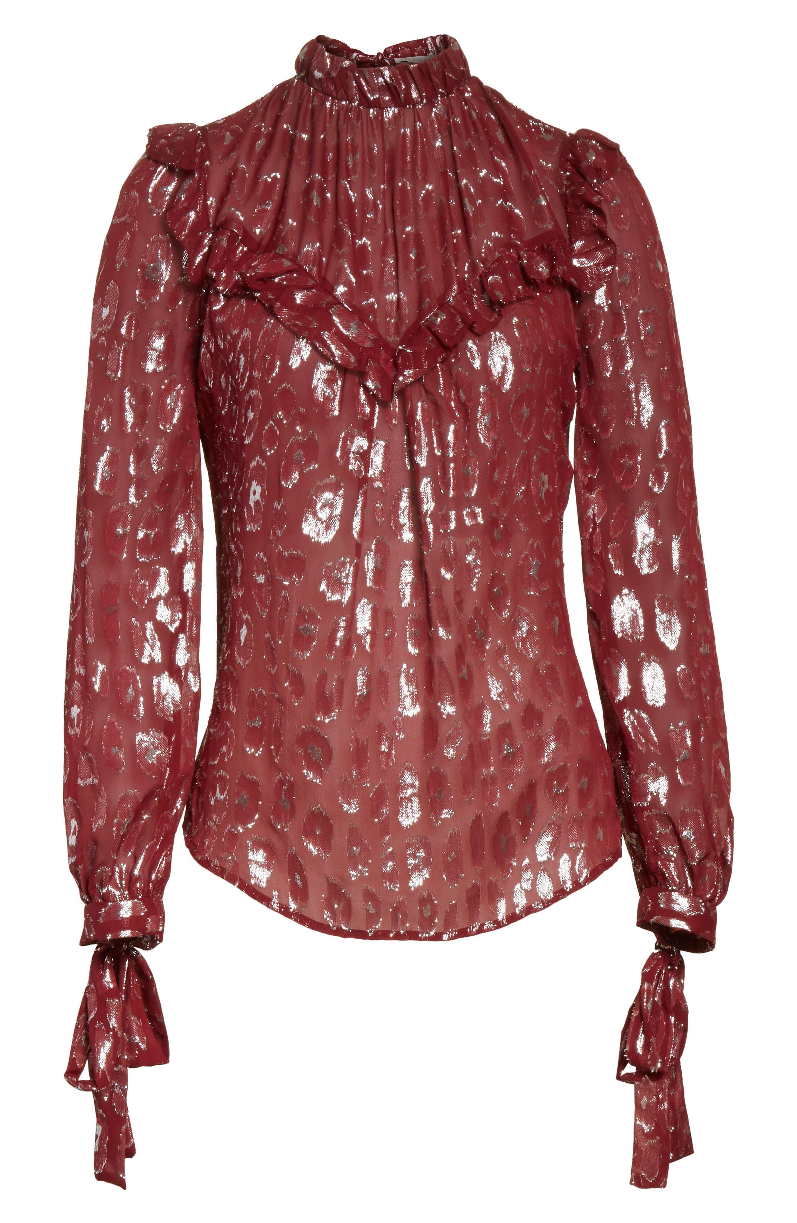 Brooks Metallic Silk Blouse,                             Alternate thumbnail 6, color,                             641