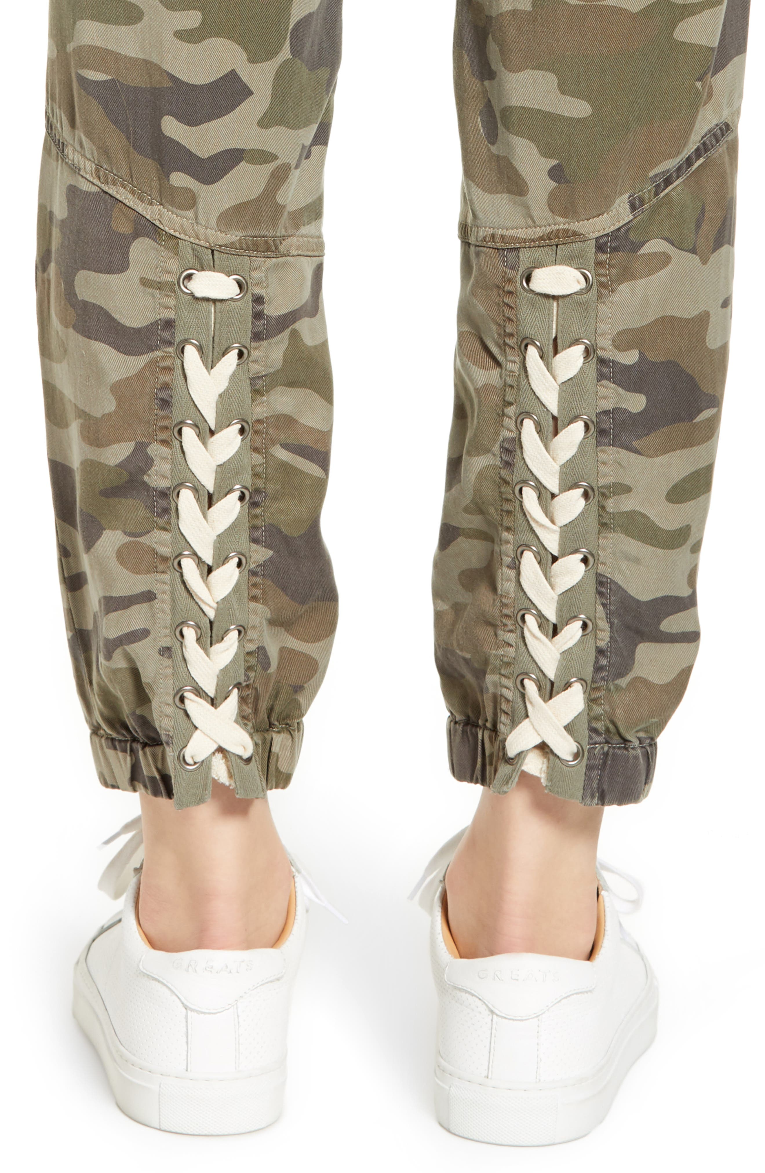 Clay Camo Lace-Up Pants,                             Alternate thumbnail 4, color,                             CLAY CAMO