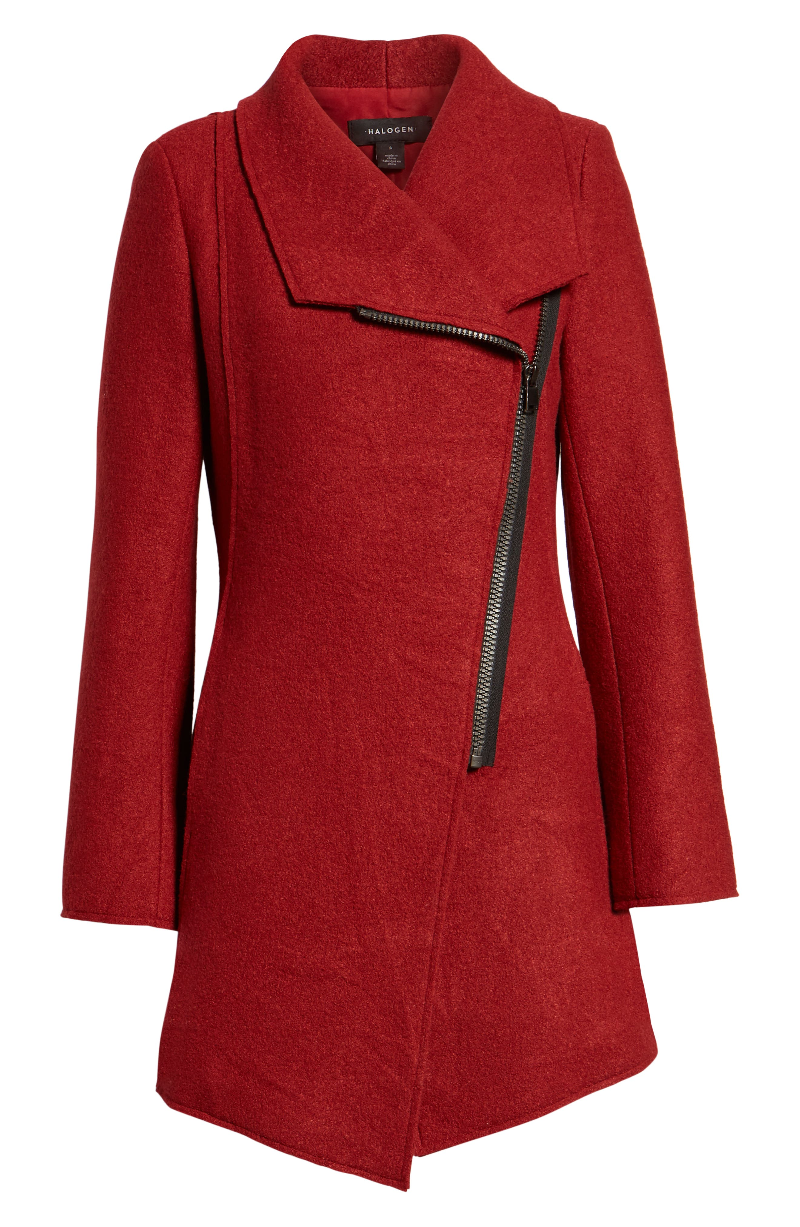 HALOGEN<SUP>®</SUP>,                             Asymmetrical Zip Boiled Wool Blend Coat,                             Alternate thumbnail 6, color,                             BRICK RED