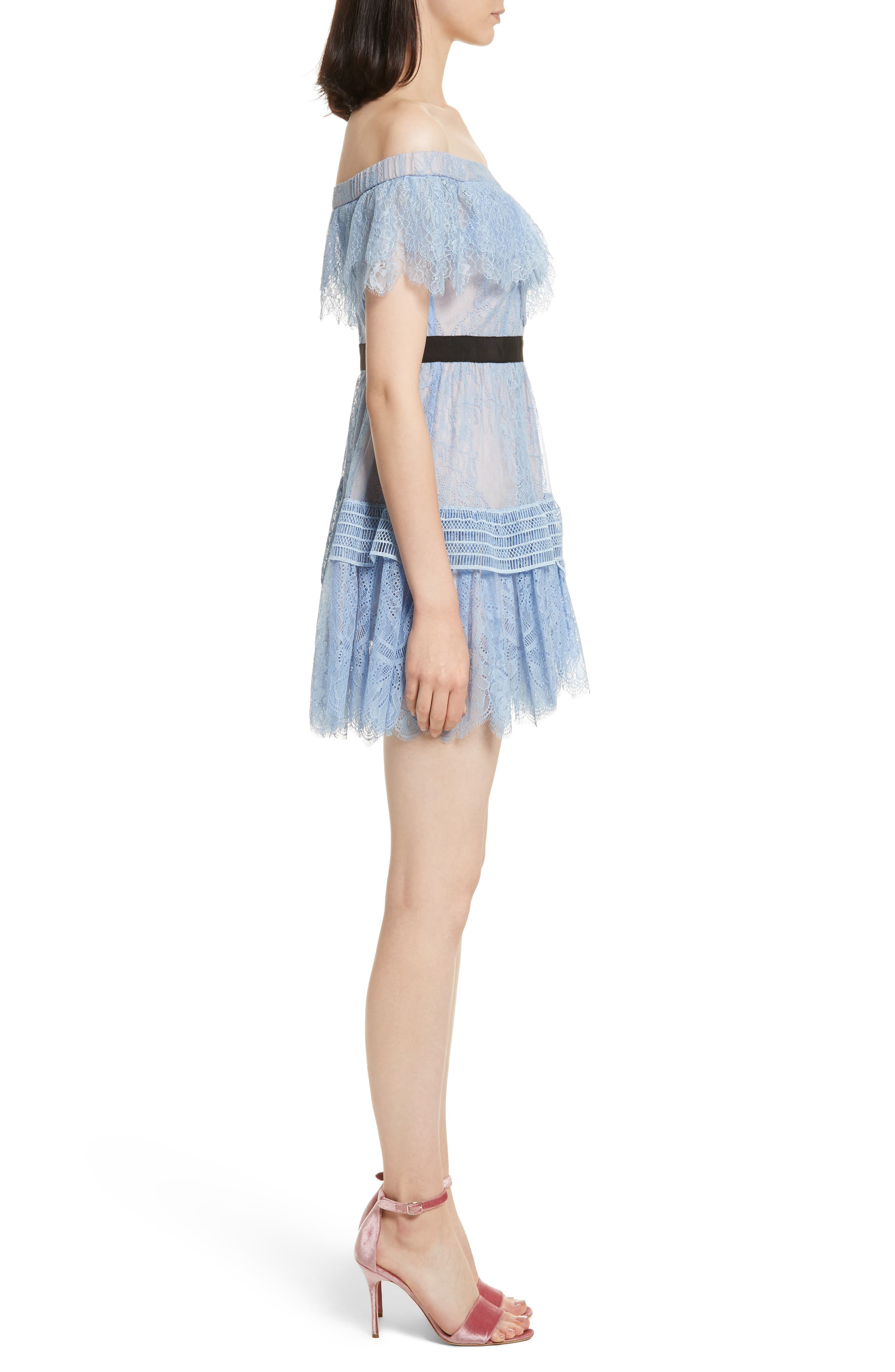 Lace Off the Shoulder Minidress,                             Alternate thumbnail 3, color,