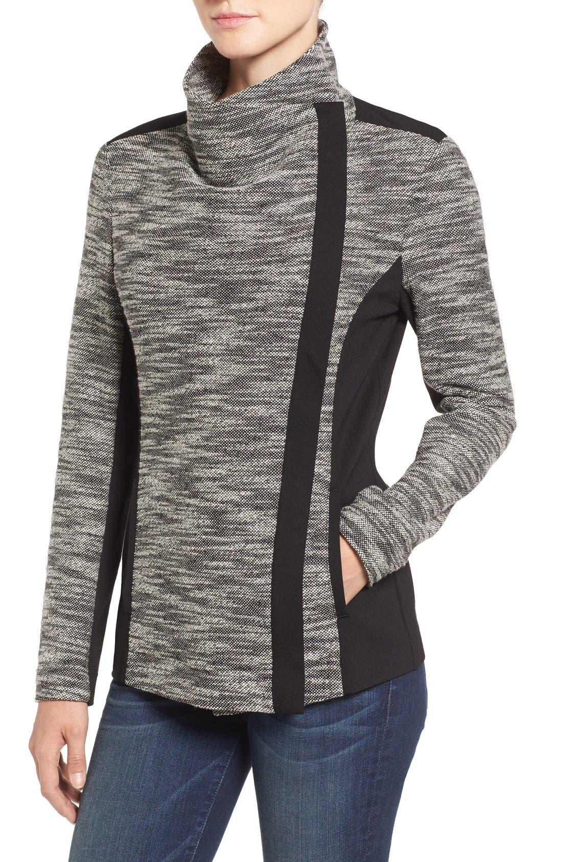 Asymmetrical Mixed Media Jacket,                             Alternate thumbnail 5, color,                             001