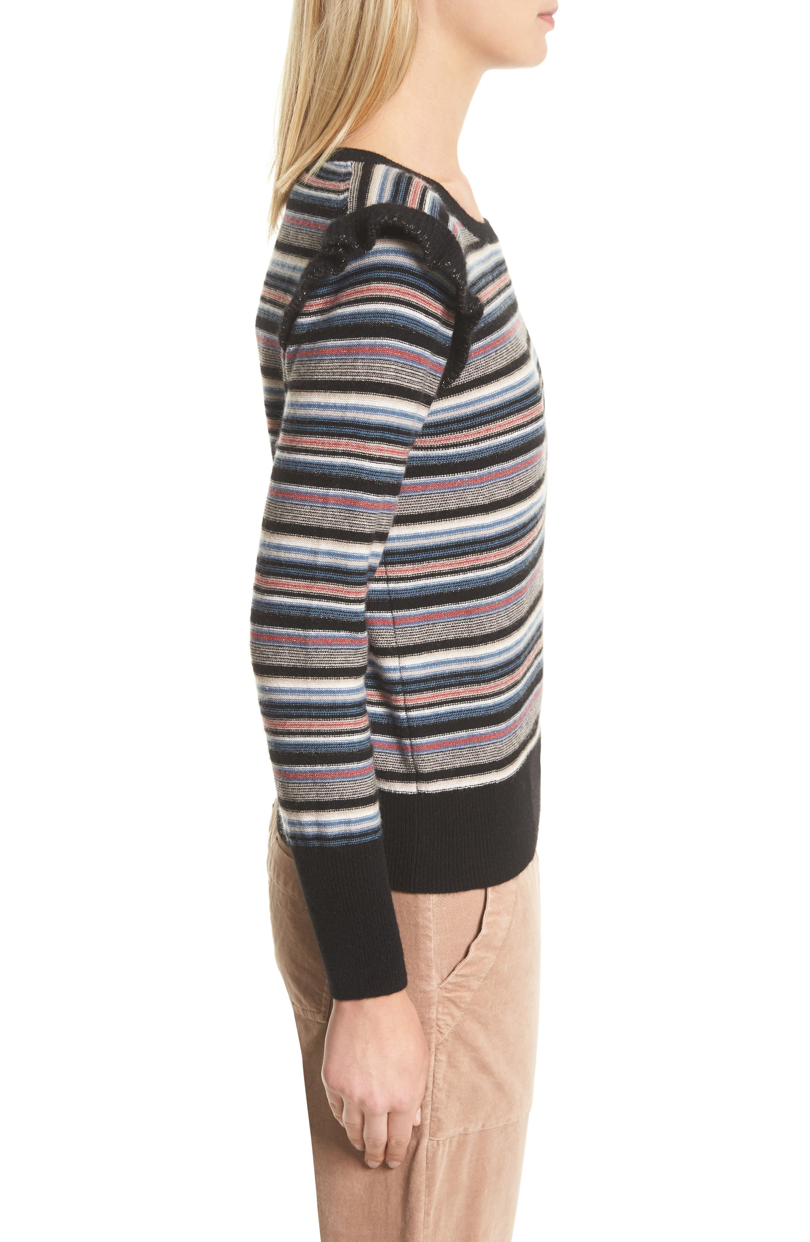 Cais C Stripe Wool & Cashmere Sweater,                             Alternate thumbnail 3, color,                             001