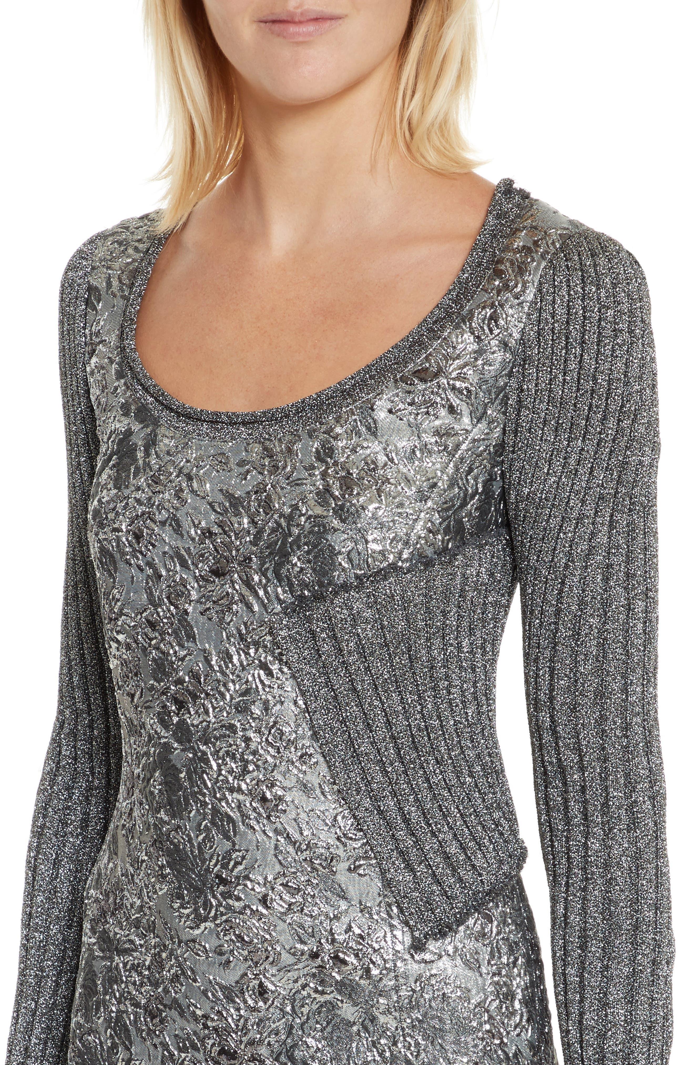 Mixed Media Metallic Sweater Dress,                             Alternate thumbnail 4, color,                             040