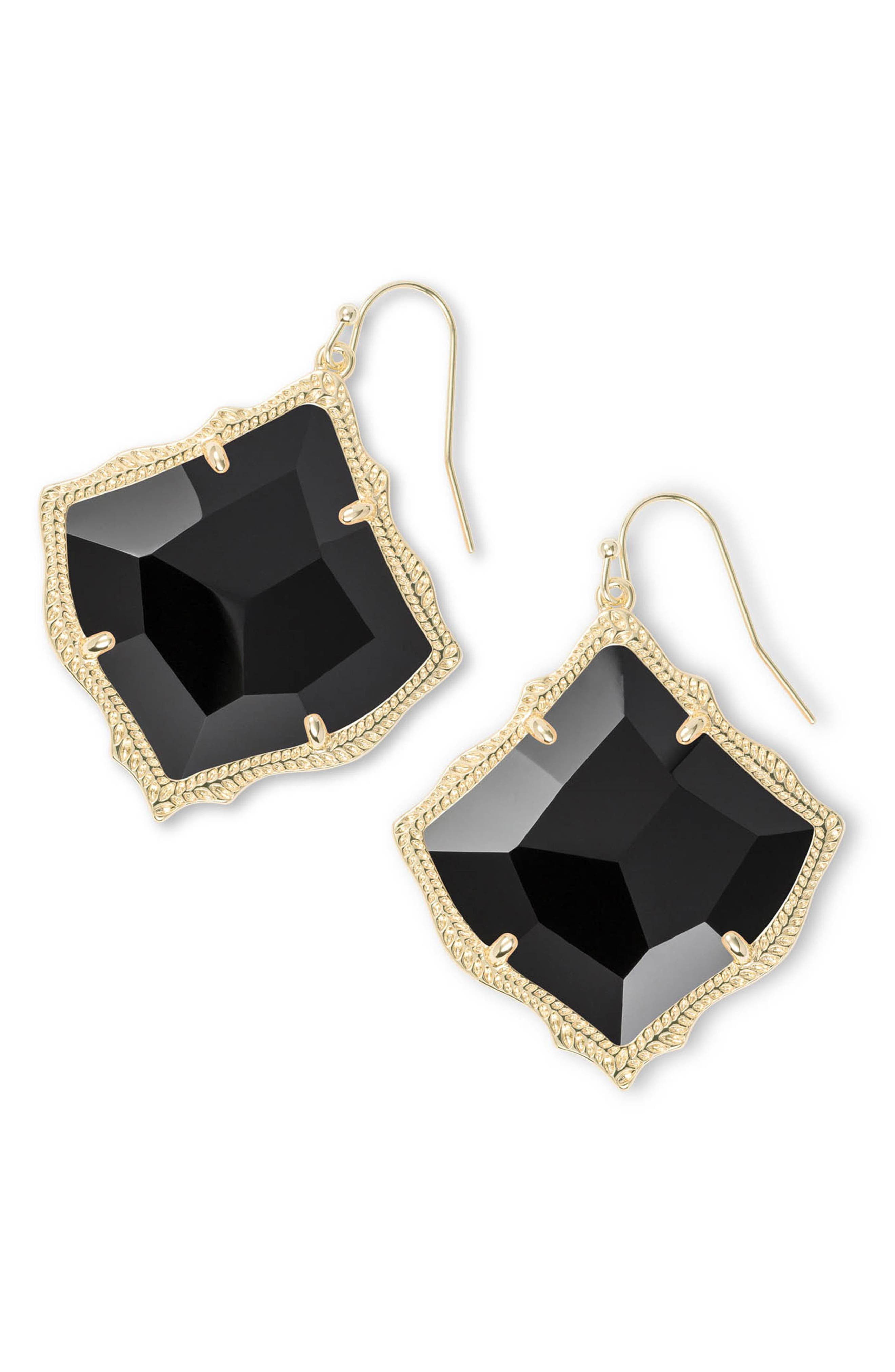 Kirsten Drop Earrings, Main, color, BLACK OPAQUE GLASS/ GOLD