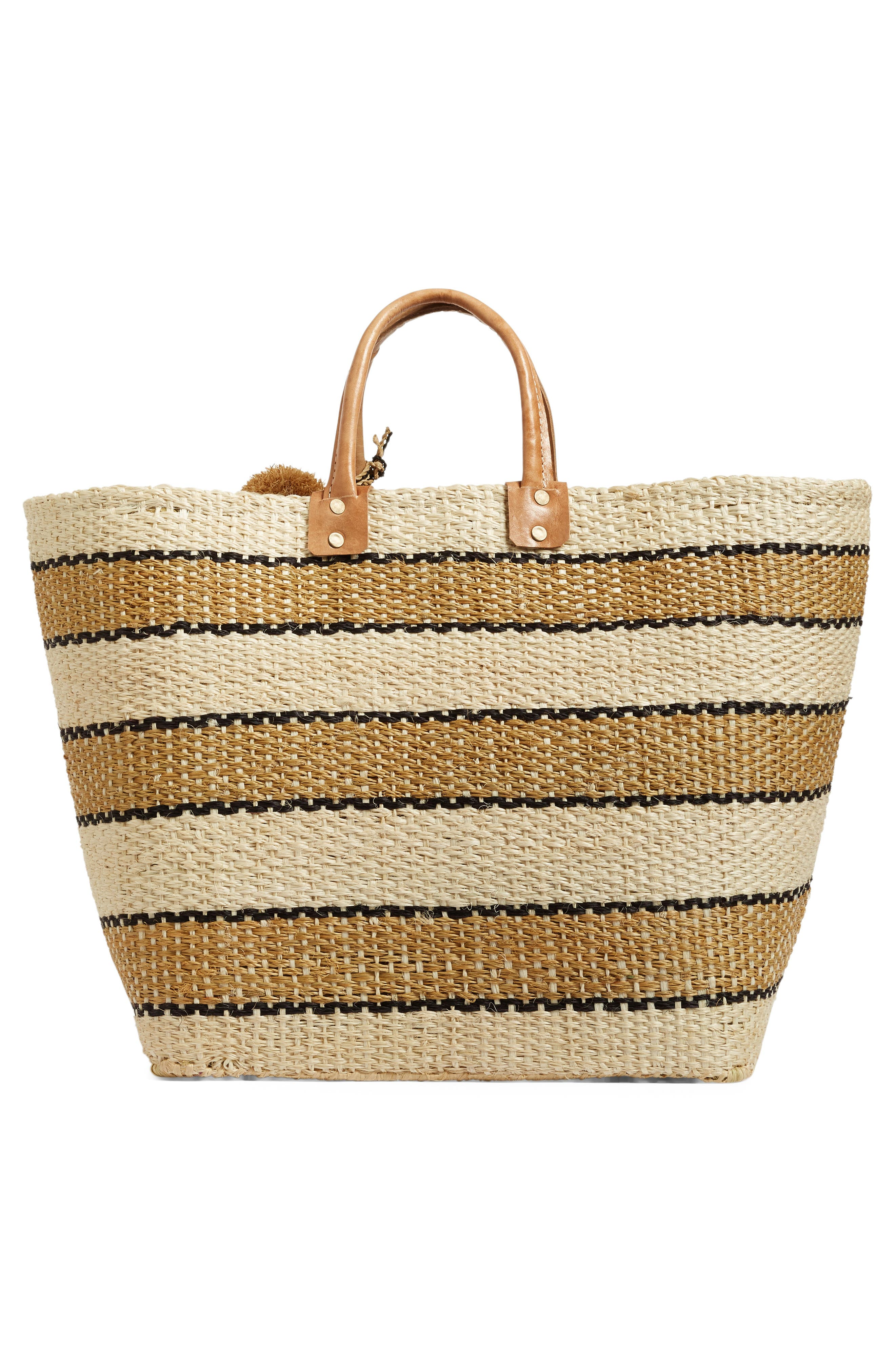'Capri' Woven Tote with Pom Charms,                             Alternate thumbnail 3, color,                             200