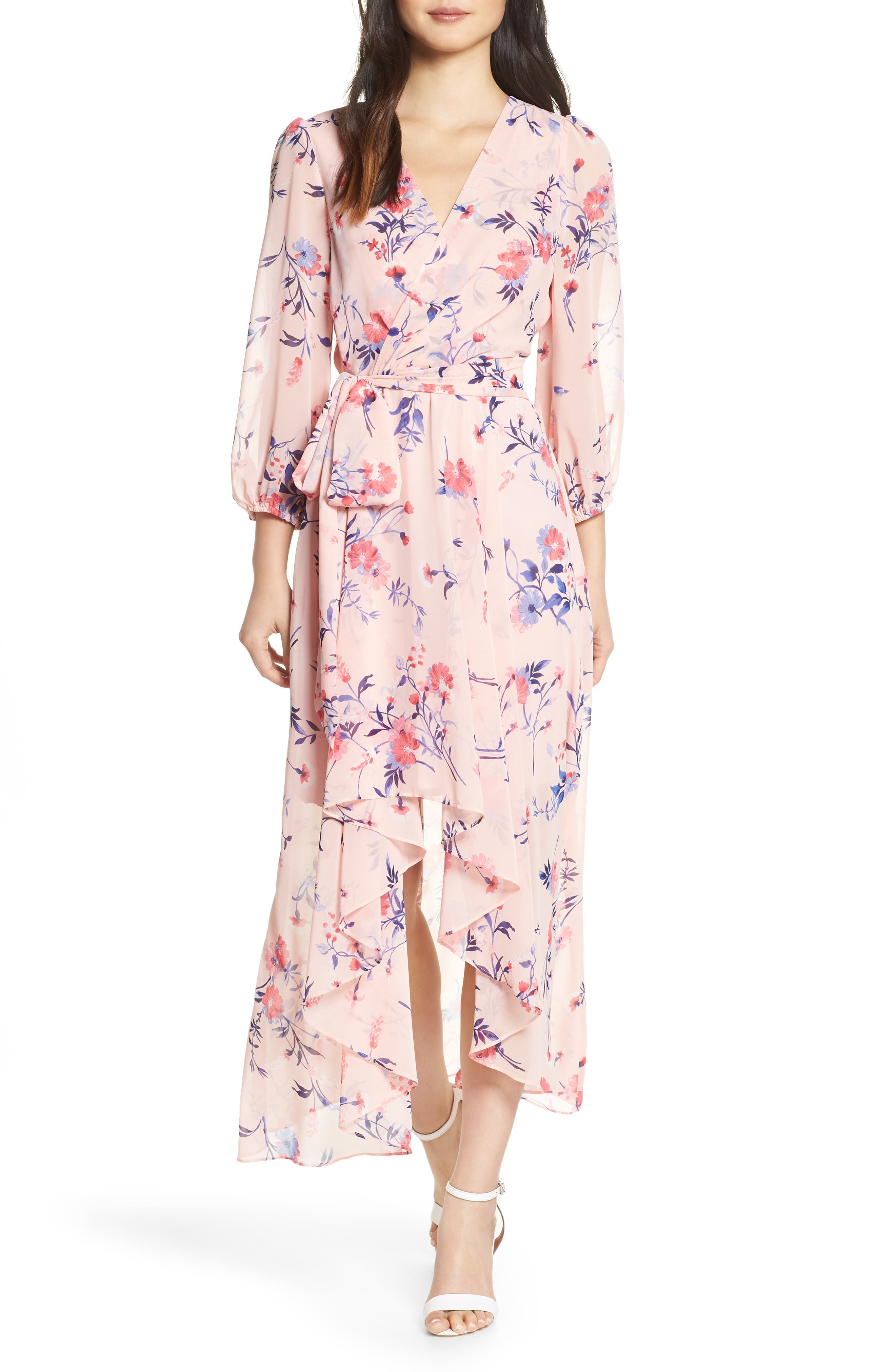 Eliza J Floral Print High/low Wrap Maxi Dress, Pink