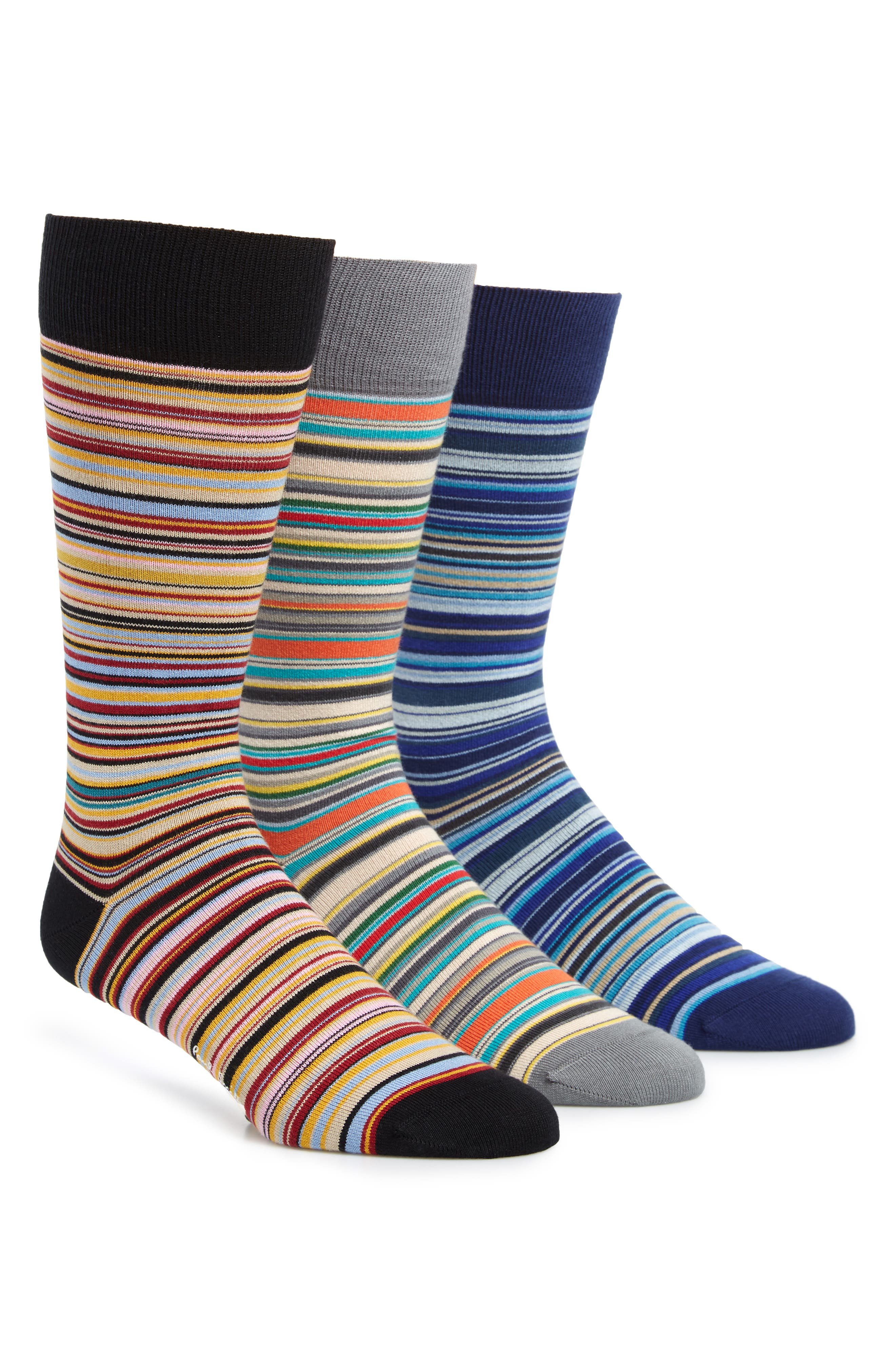 3-Pack Stripe Socks,                         Main,                         color, RED/ BLUE MULTI