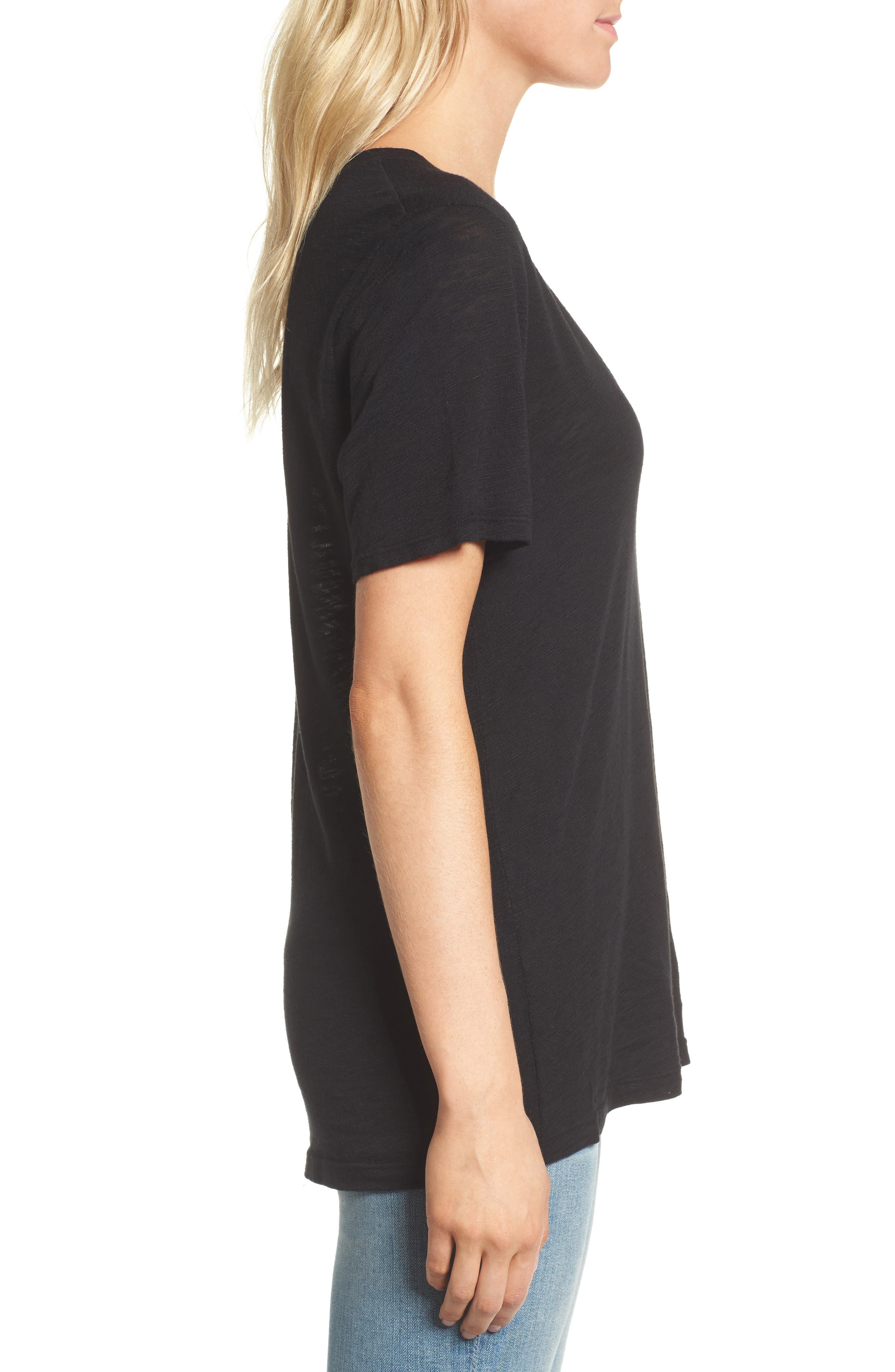 V-Neck Slub Jersey Tee,                             Alternate thumbnail 3, color,                             BLACK