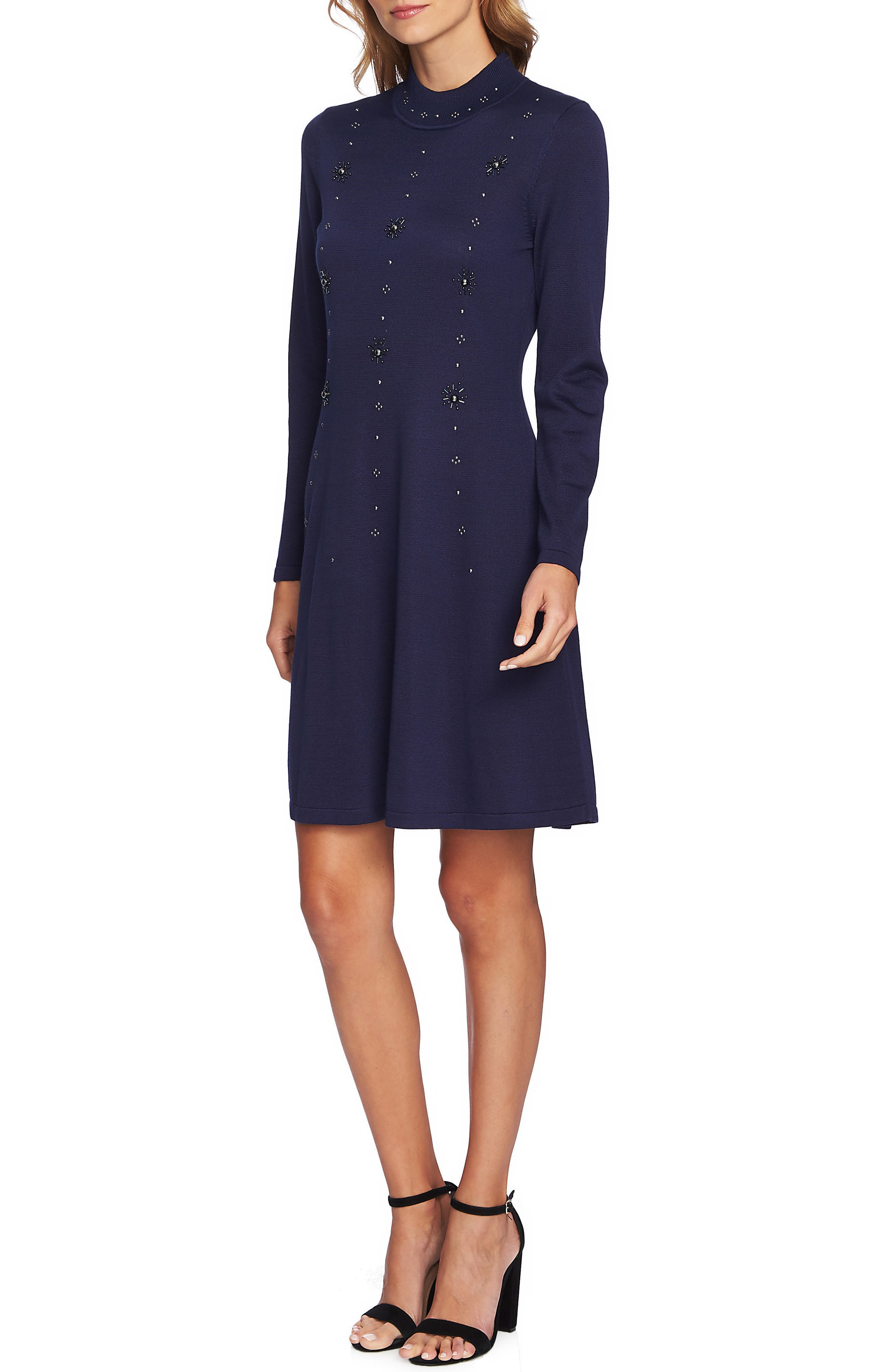 Embellished Sweater Dress,                             Main thumbnail 1, color,                             MIDNIGHT BLOOM