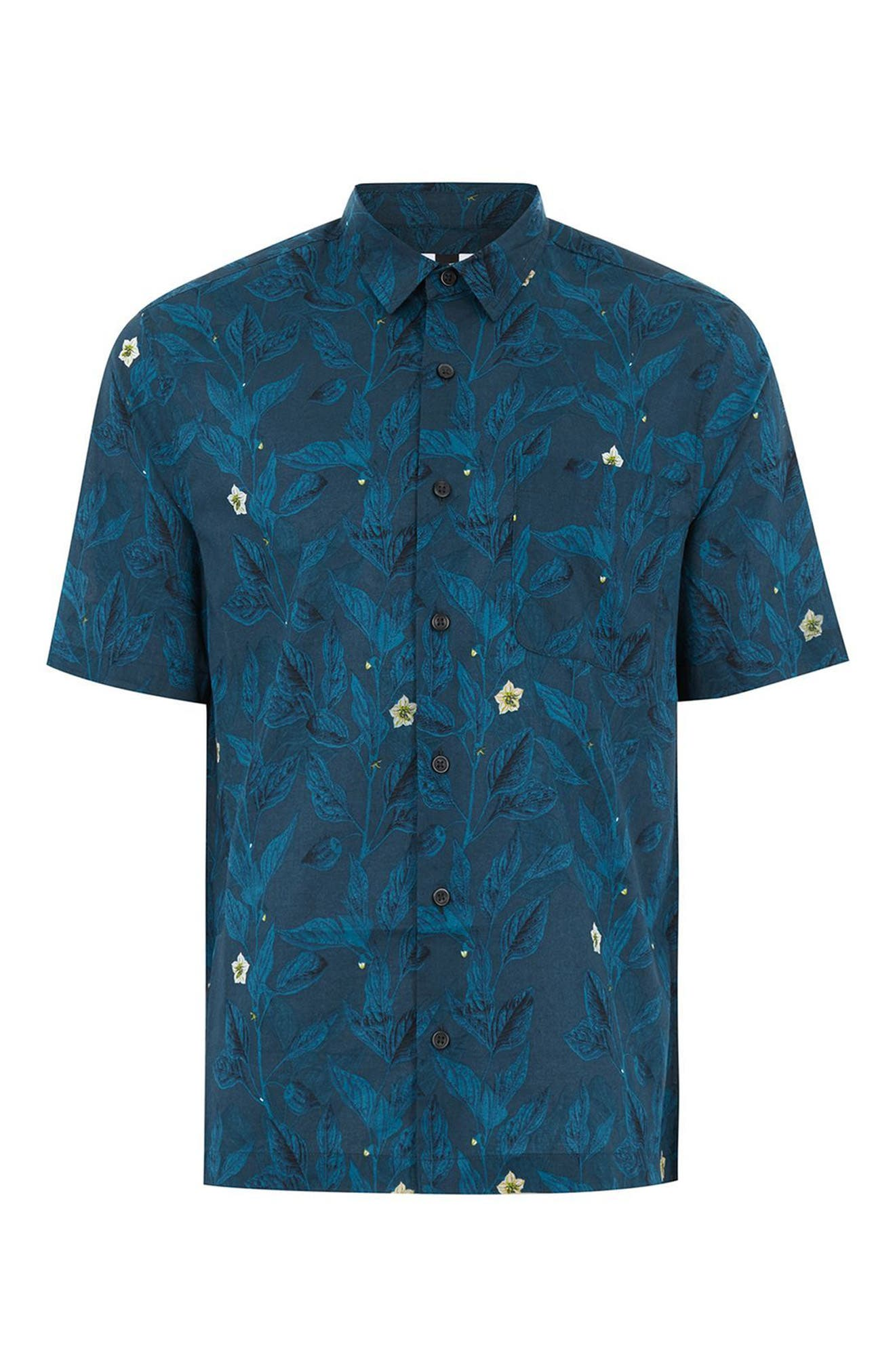 Floral Print Shirt,                             Alternate thumbnail 4, color,                             400