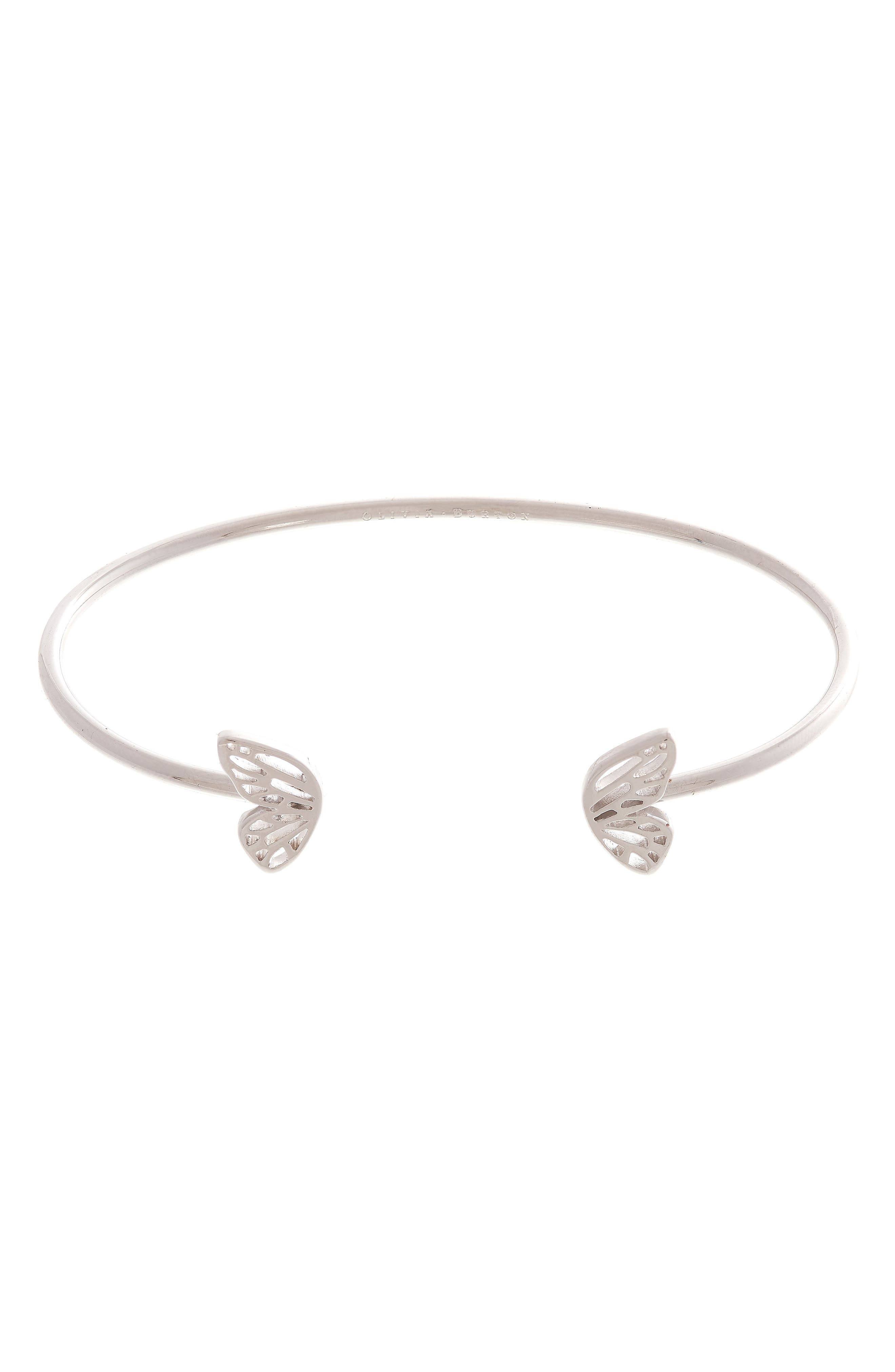 Butterfly Wing Open Bangle Bracelet,                             Main thumbnail 1, color,                             SILVER