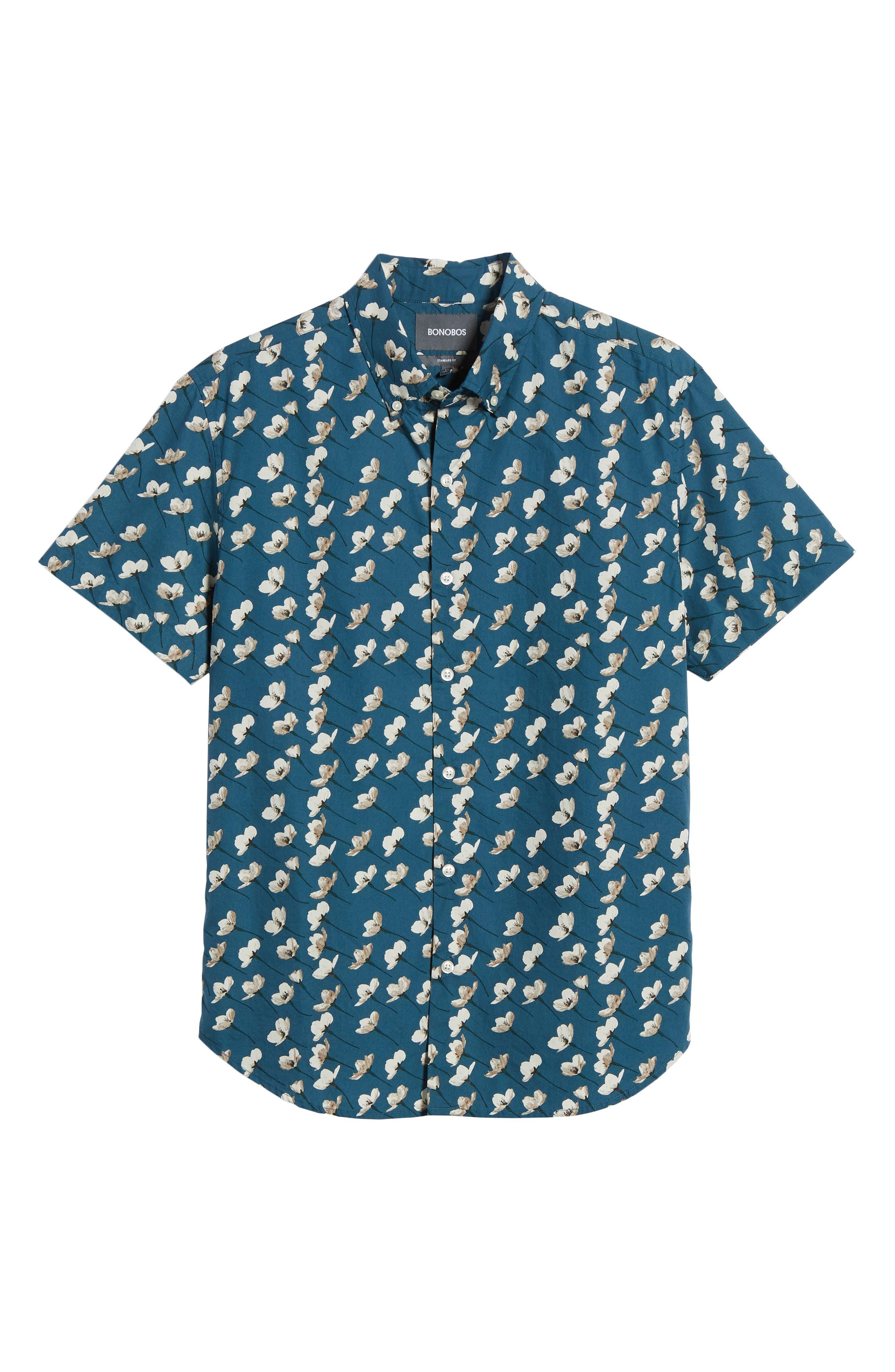 Riviera Slim Fit Cherry Blossom Print Sport Shirt,                             Alternate thumbnail 6, color,                             CHERRY BLOSSOMS-STARGAZER