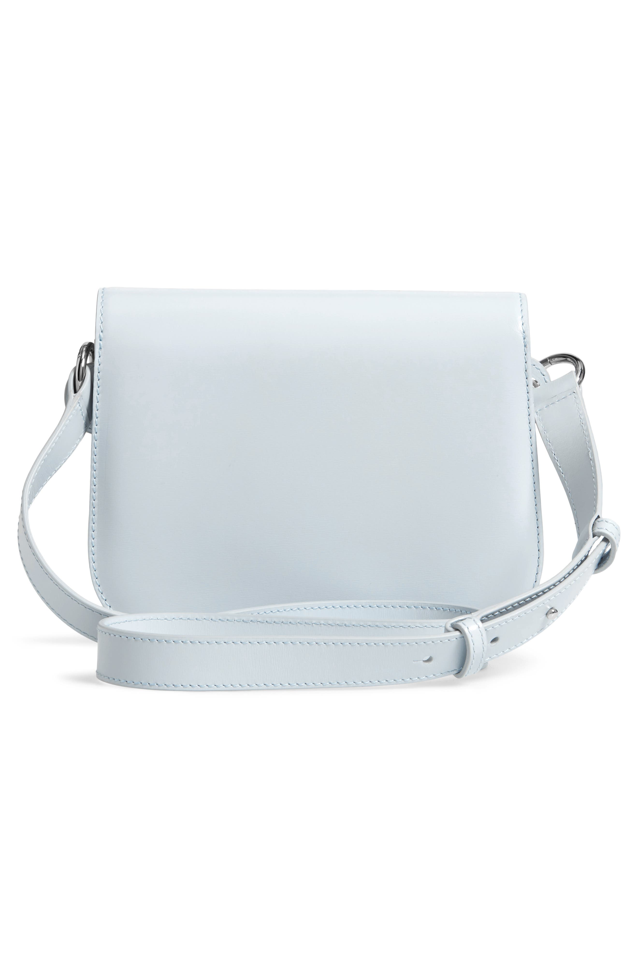 Small Round Lock Leather Shoulder Bag,                             Alternate thumbnail 3, color,                             CLOUD