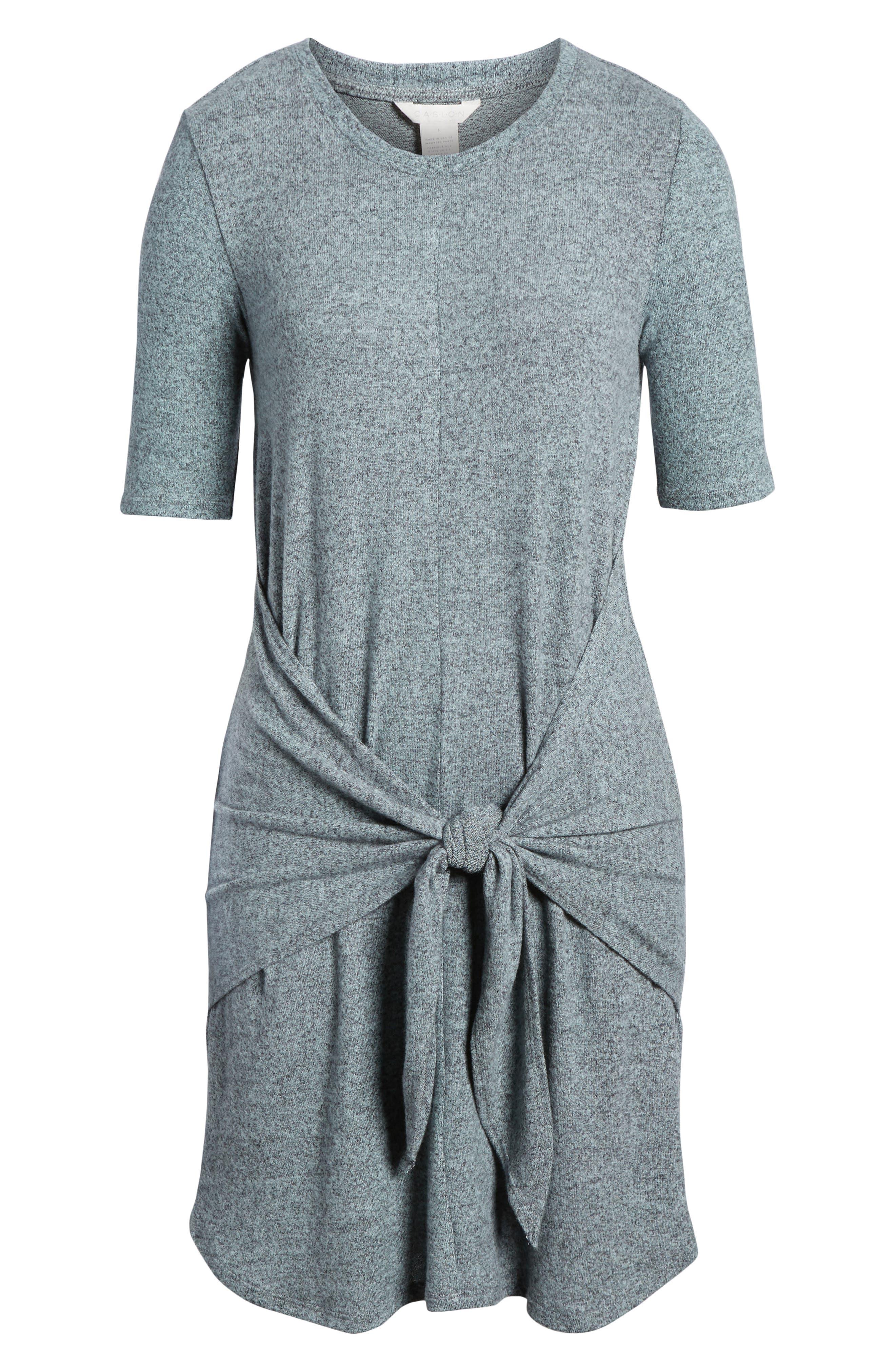 Caslon Off-Duty Tie Front Knit Dress,                             Alternate thumbnail 18, color,