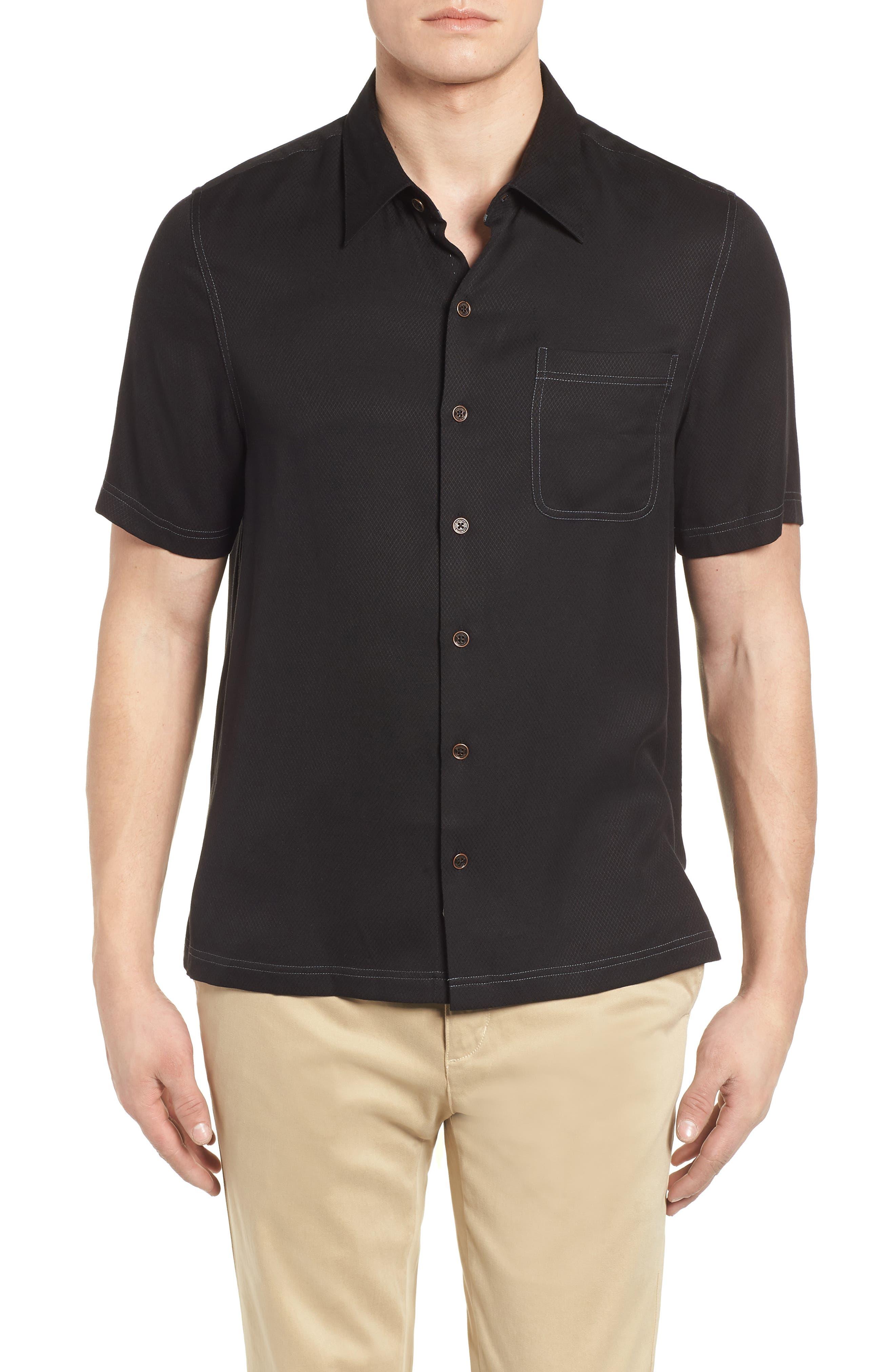 'Honeycomb' Regular Fit Short Sleeve Textured Sport Shirt,                             Alternate thumbnail 4, color,