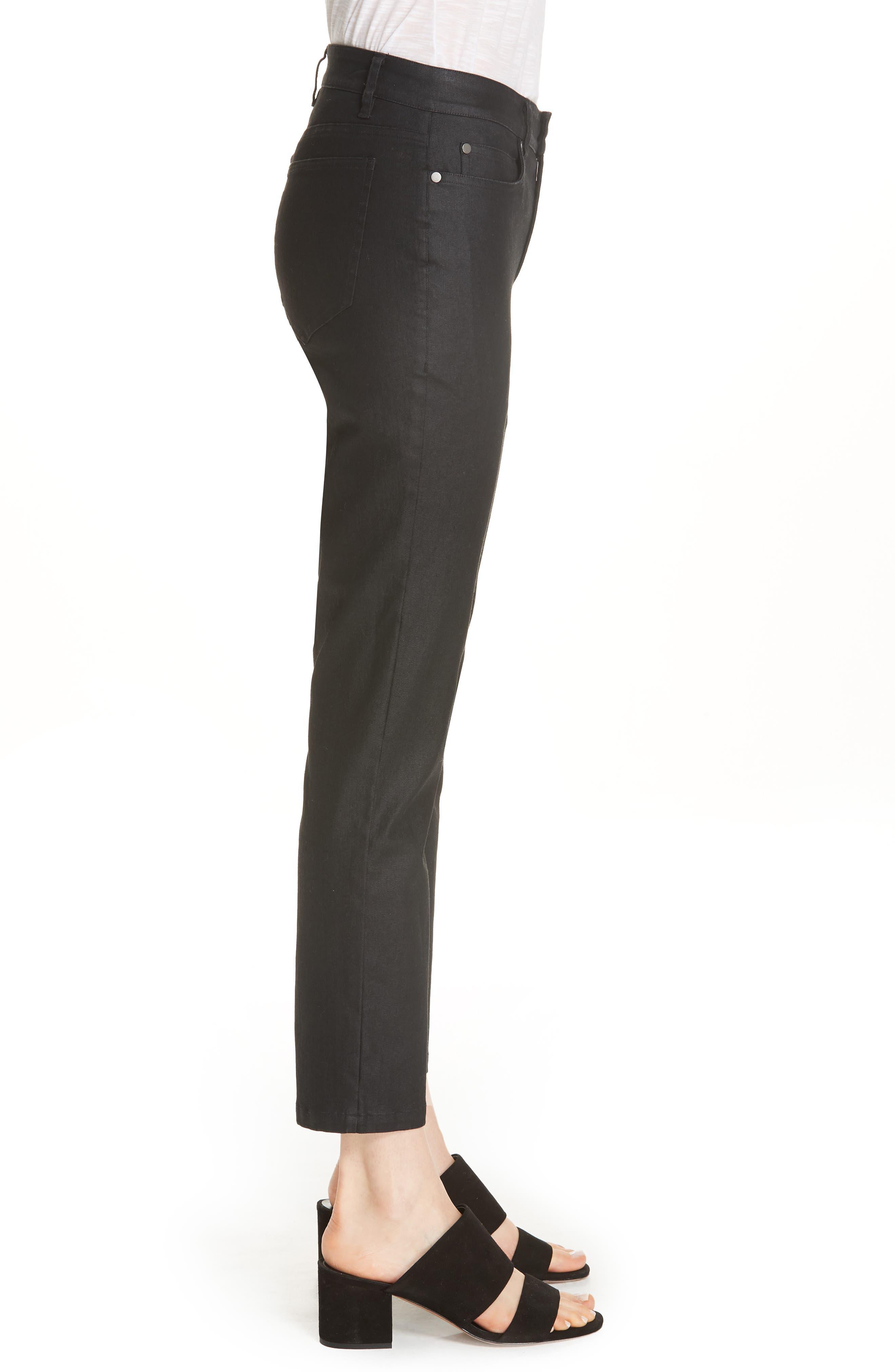 Slim Ankle Jeans,                             Alternate thumbnail 3, color,                             BLACK