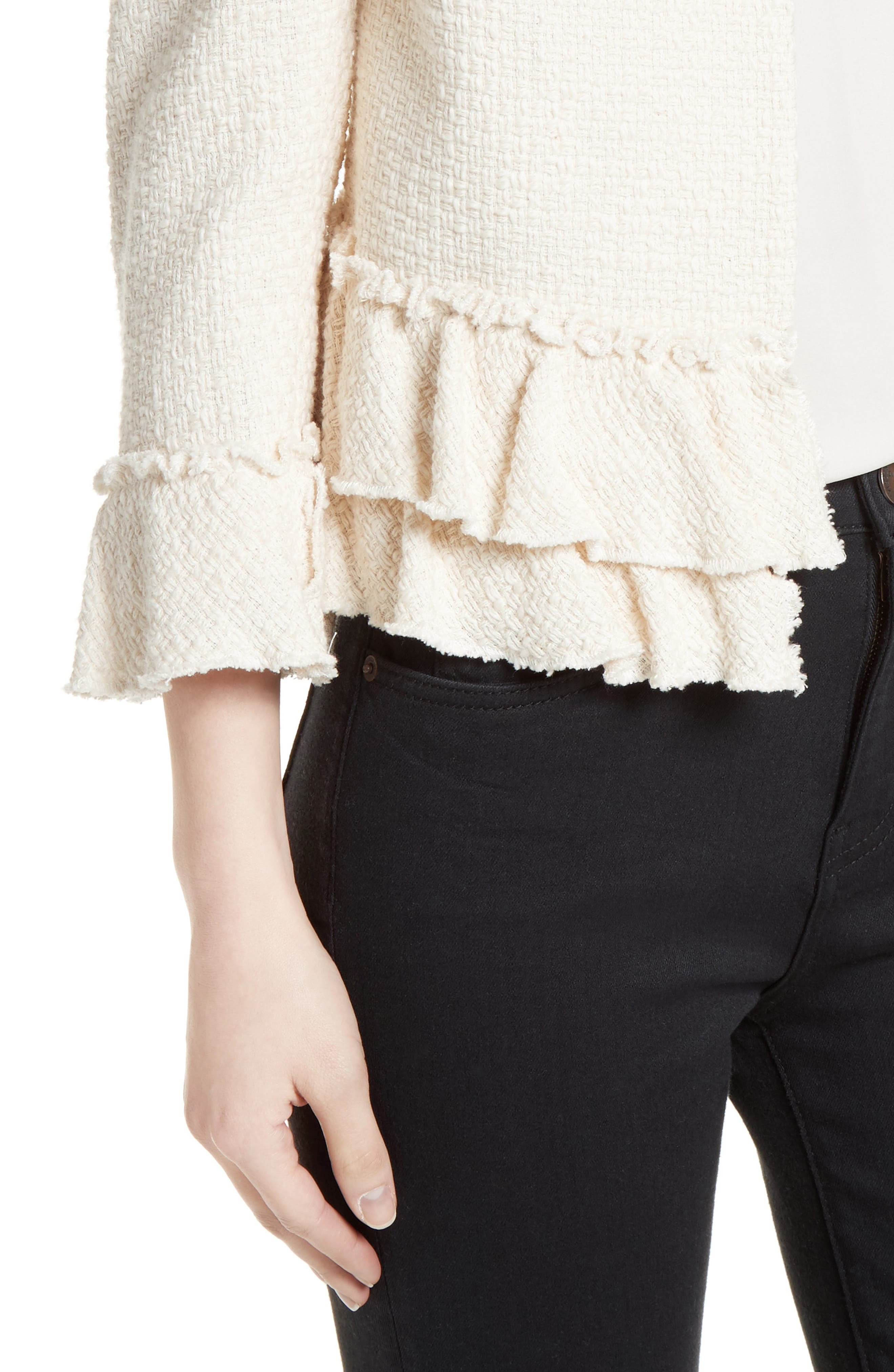 Frill Tweed Jacket,                             Alternate thumbnail 4, color,                             901