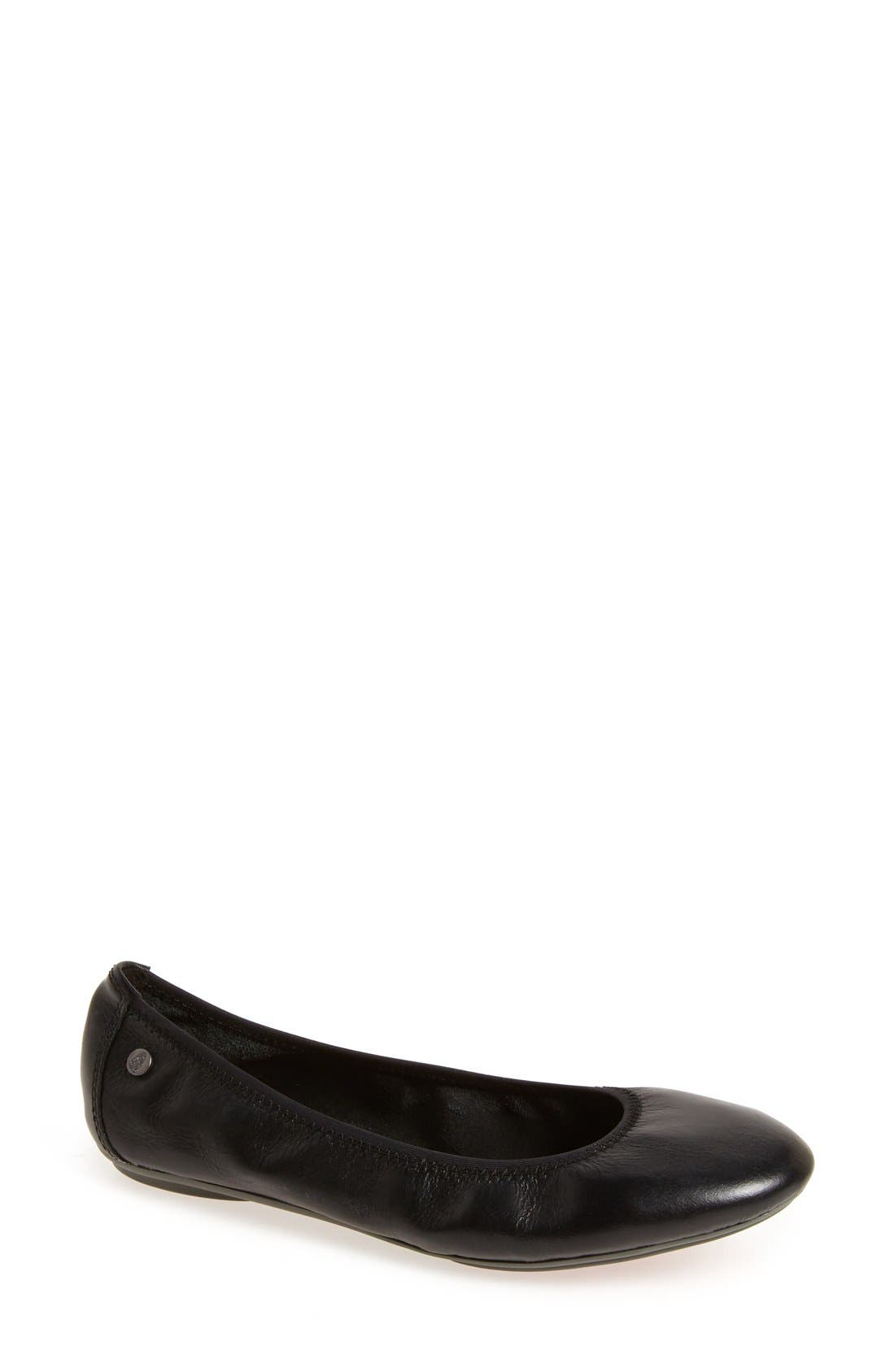 HUSH PUPPIES<SUP>®</SUP> 'Chaste' Ballet Flat, Main, color, BLACK LEATHER