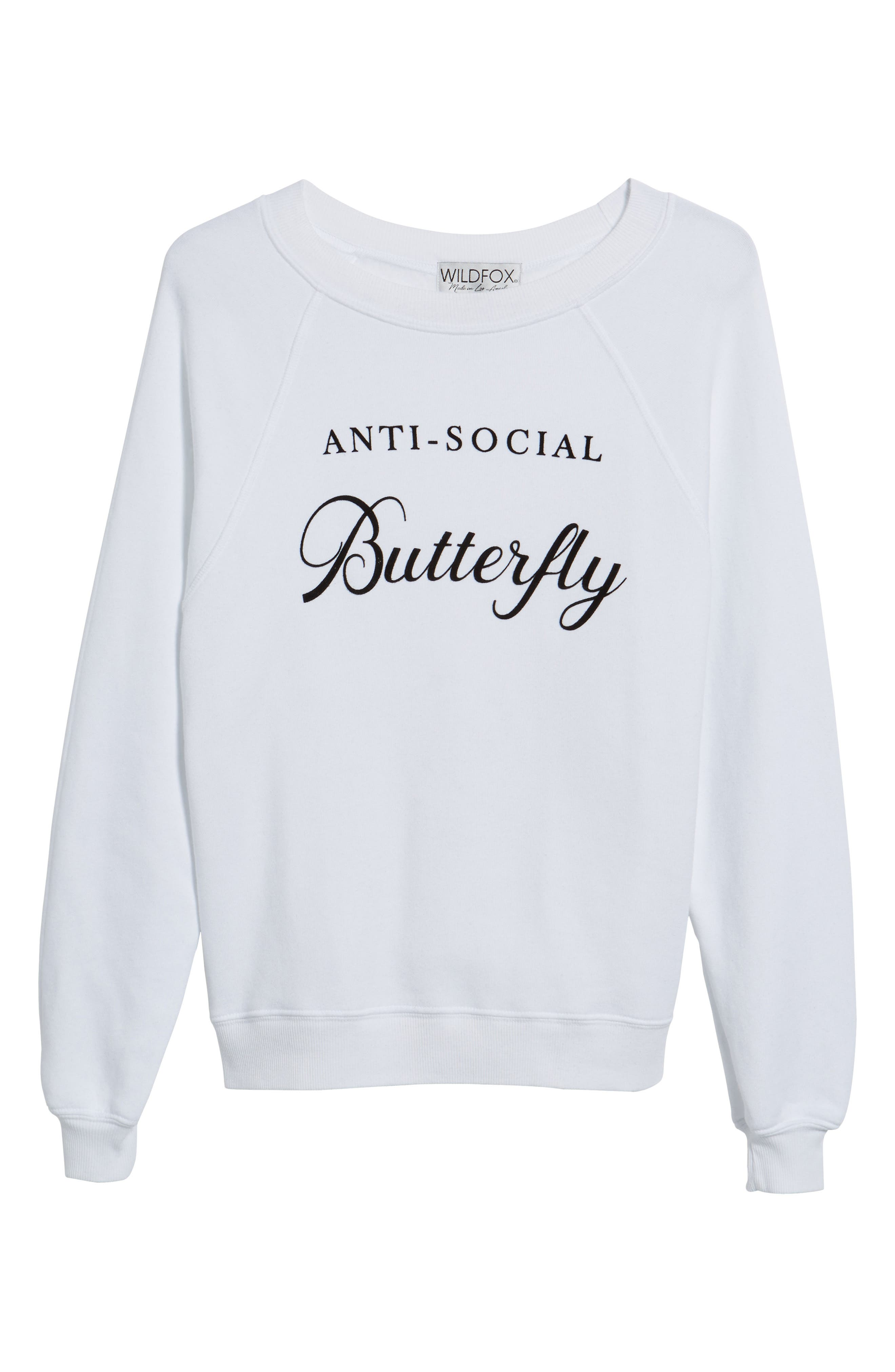 Anti-Social Butterfly Sweatshirt,                             Alternate thumbnail 6, color,                             100