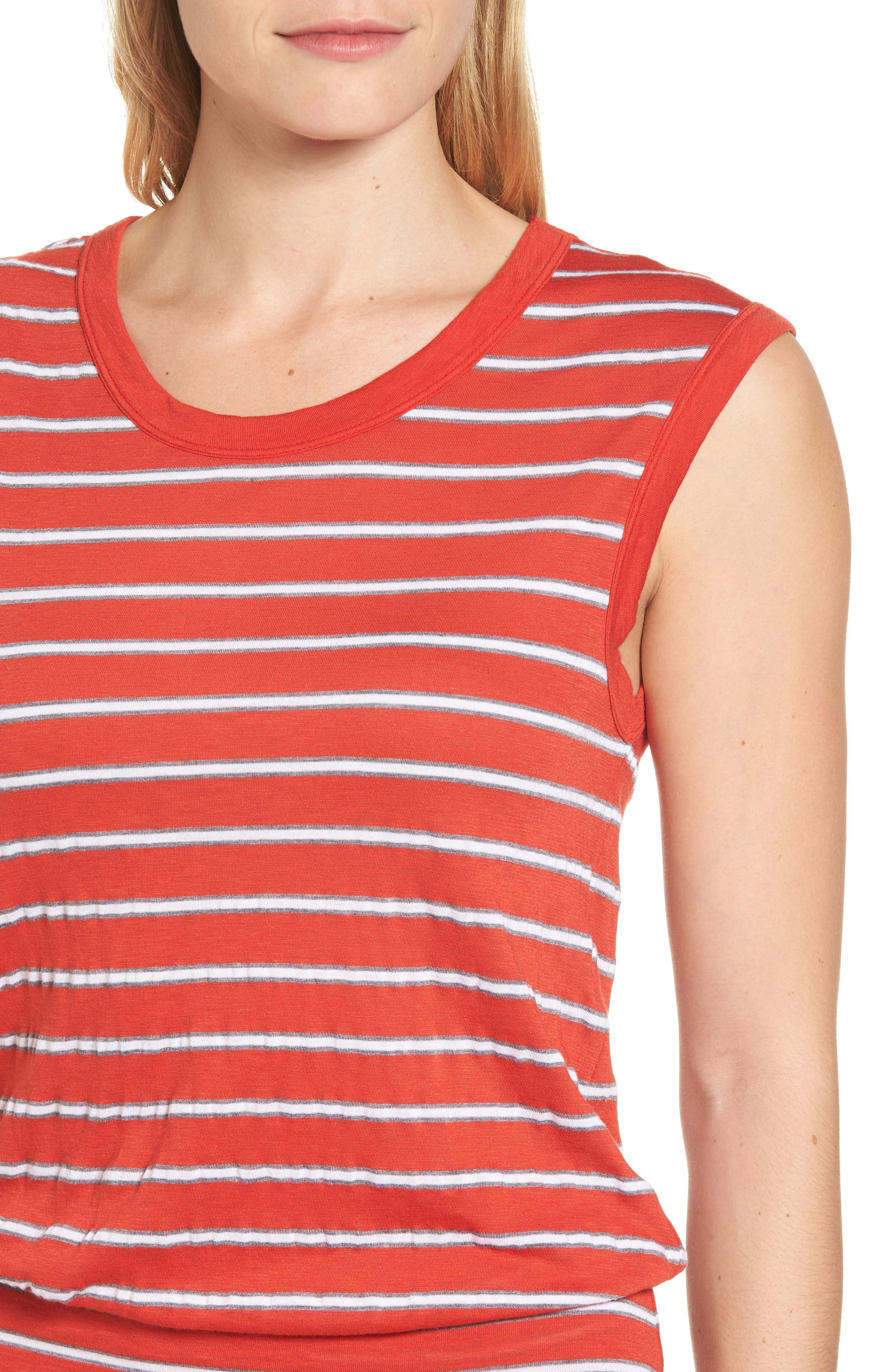 Stripe Ruched Dress,                             Alternate thumbnail 4, color,                             634