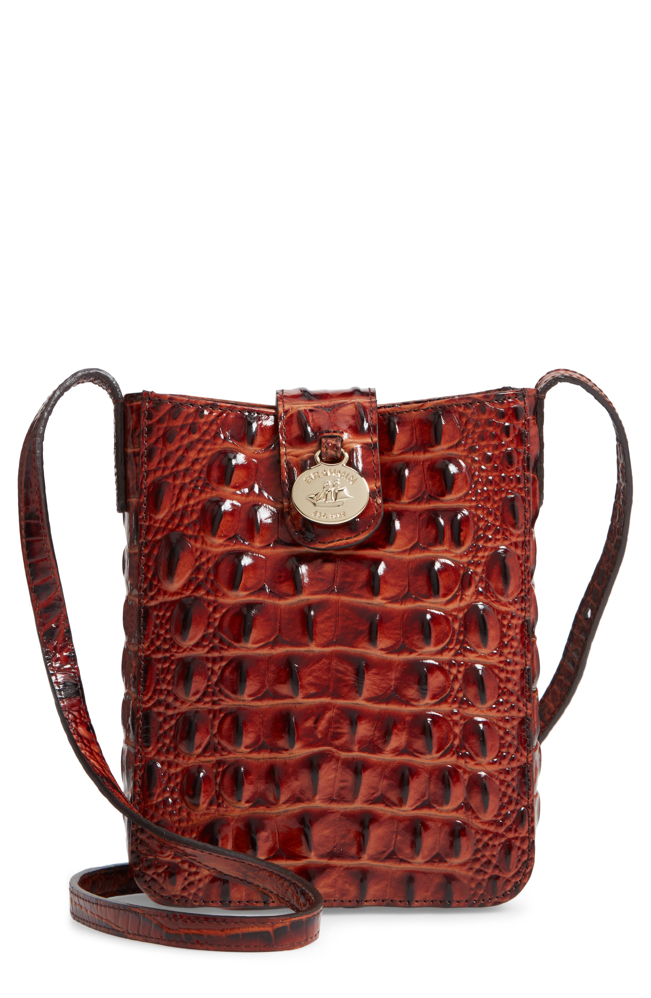 Marley Croc Embossed Leather Crossbody Bag,                             Main thumbnail 1, color,                             PECAN